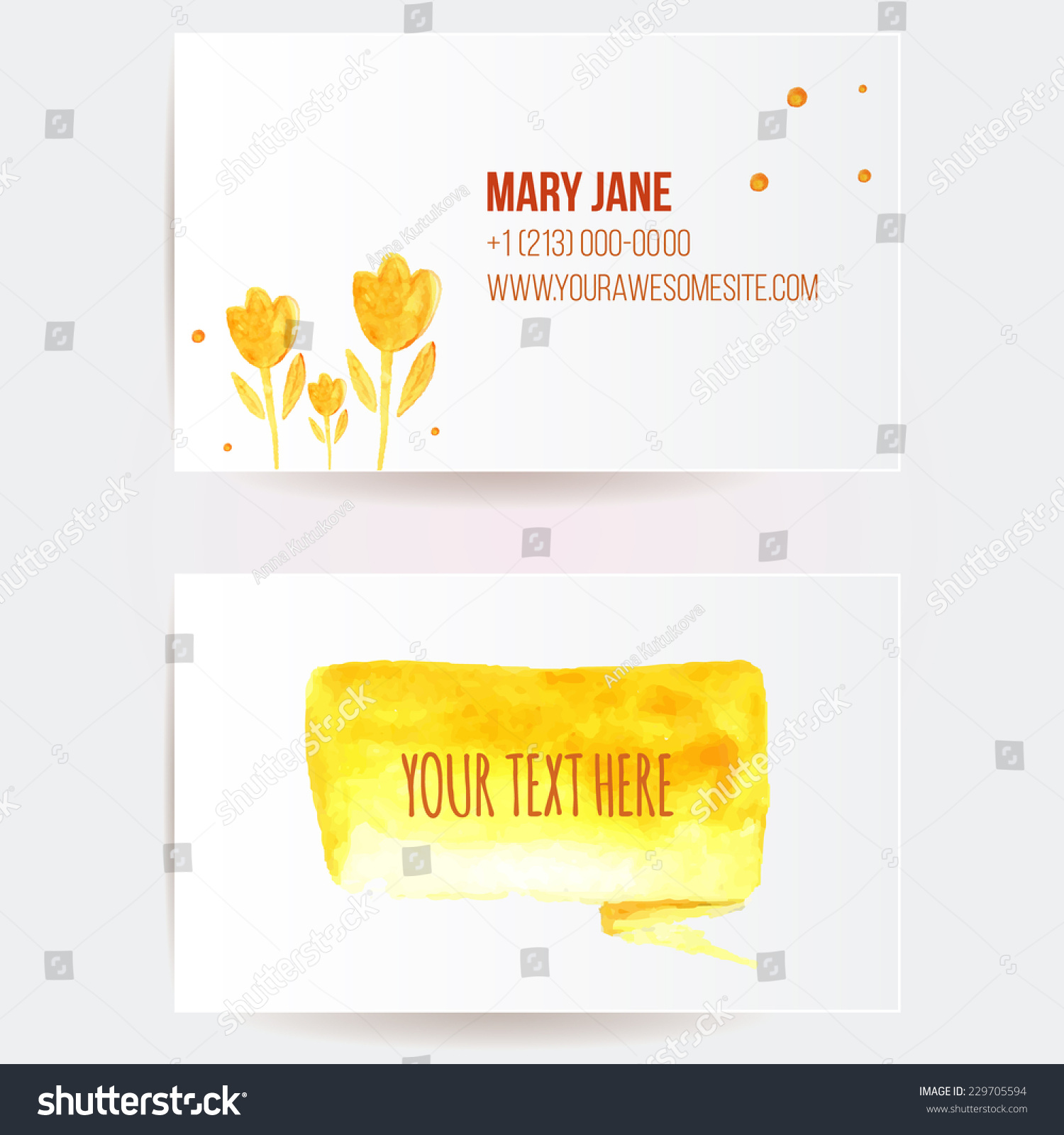 Two sided business card template yellow stock vector 229705594 two sided business card template yellow stock vector 229705594 shutterstock wajeb Choice Image