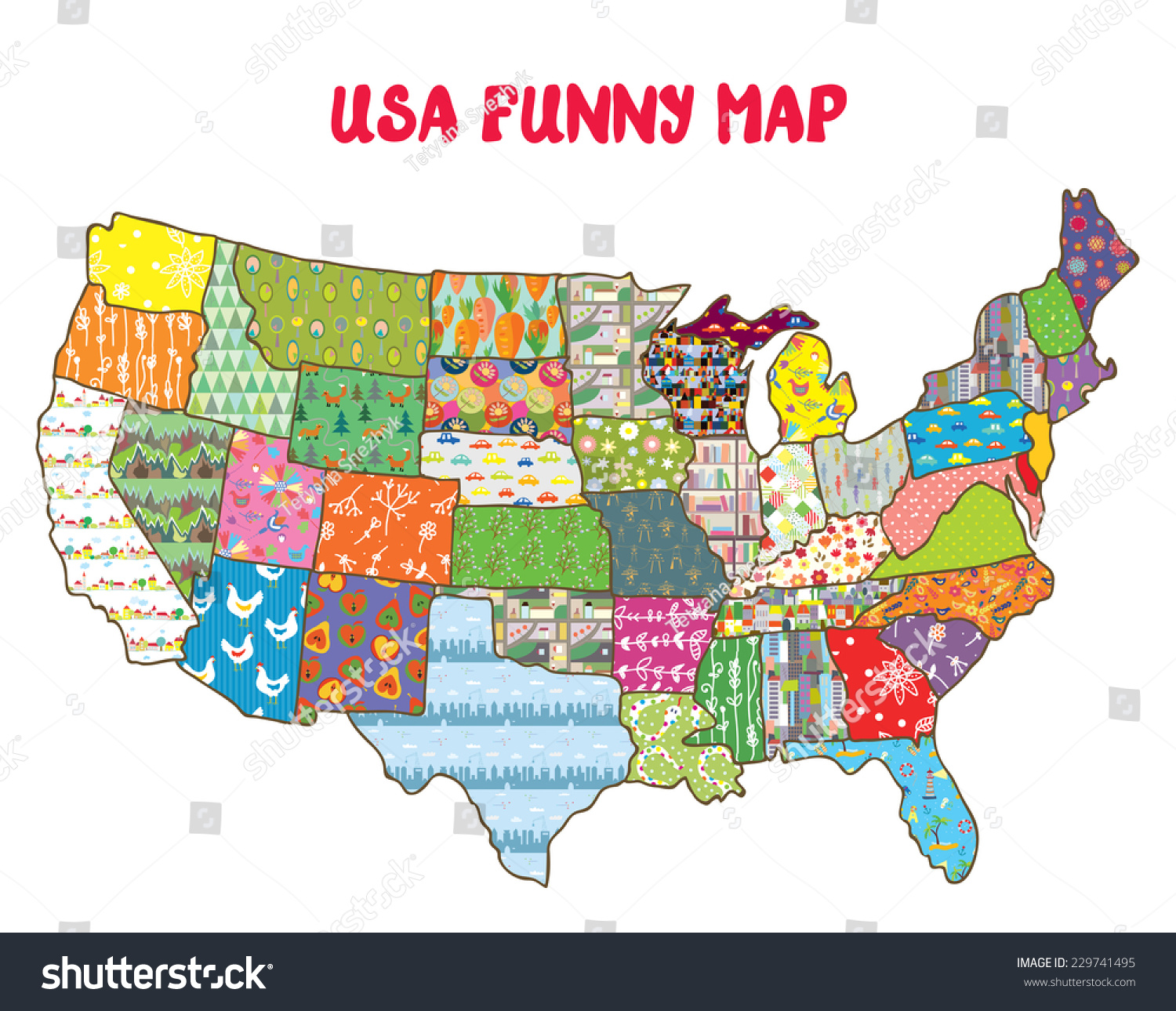 United States Funny Map With Patterns Vector Design For