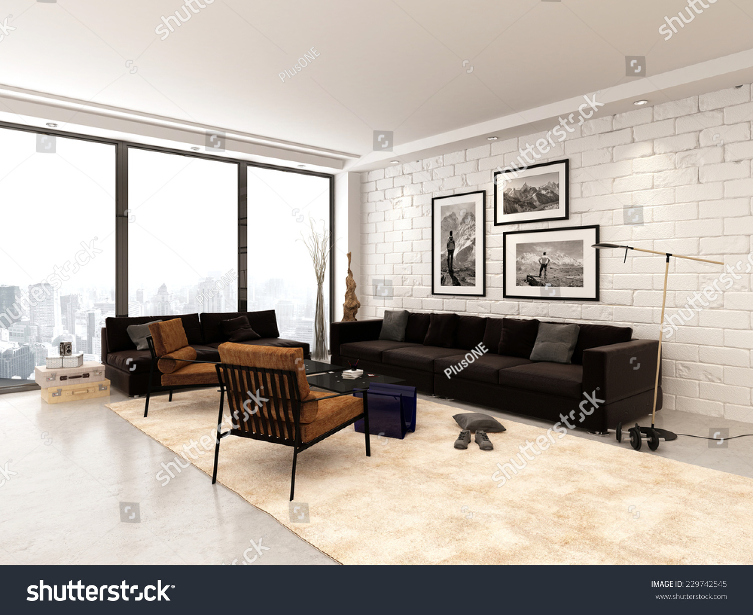 3d Rendering Of Contemporary Open Plan Living Room