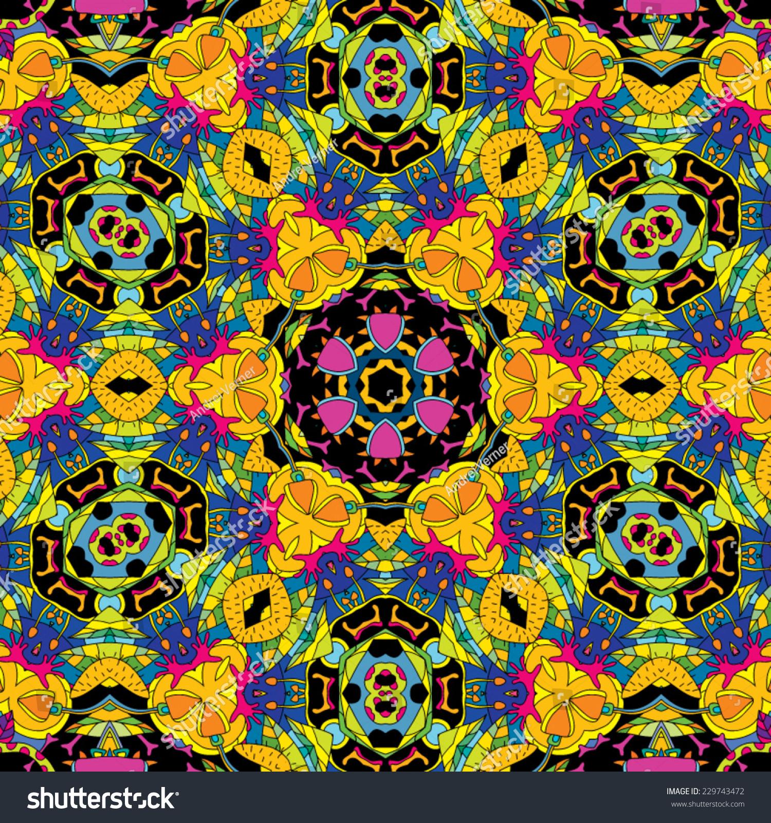Psychedelic Magic Mushroom Hallucination Jungle Seamless Stock Photo ...