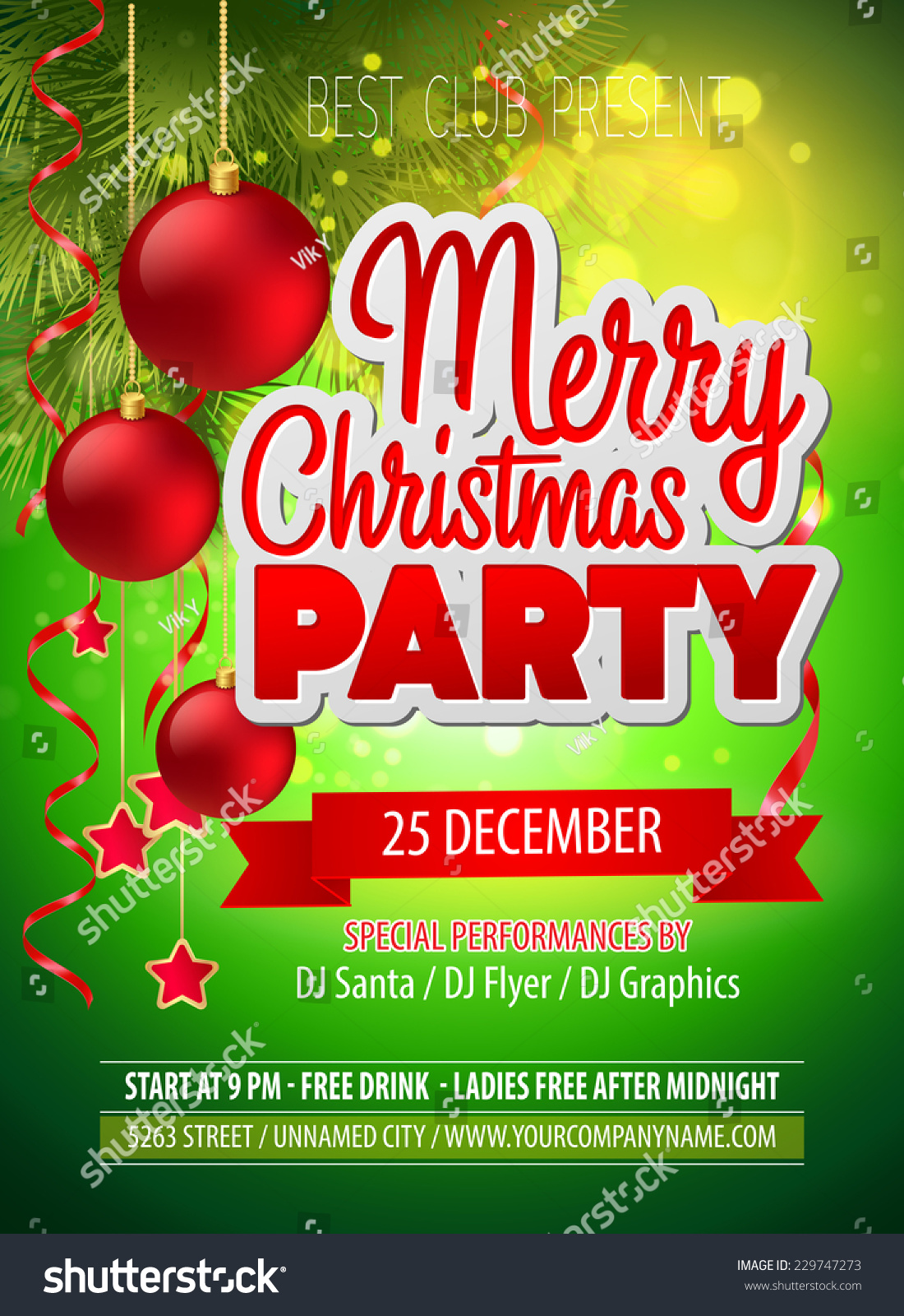 christmas party flyer vector template stock vector 229747273 christmas party flyer vector template