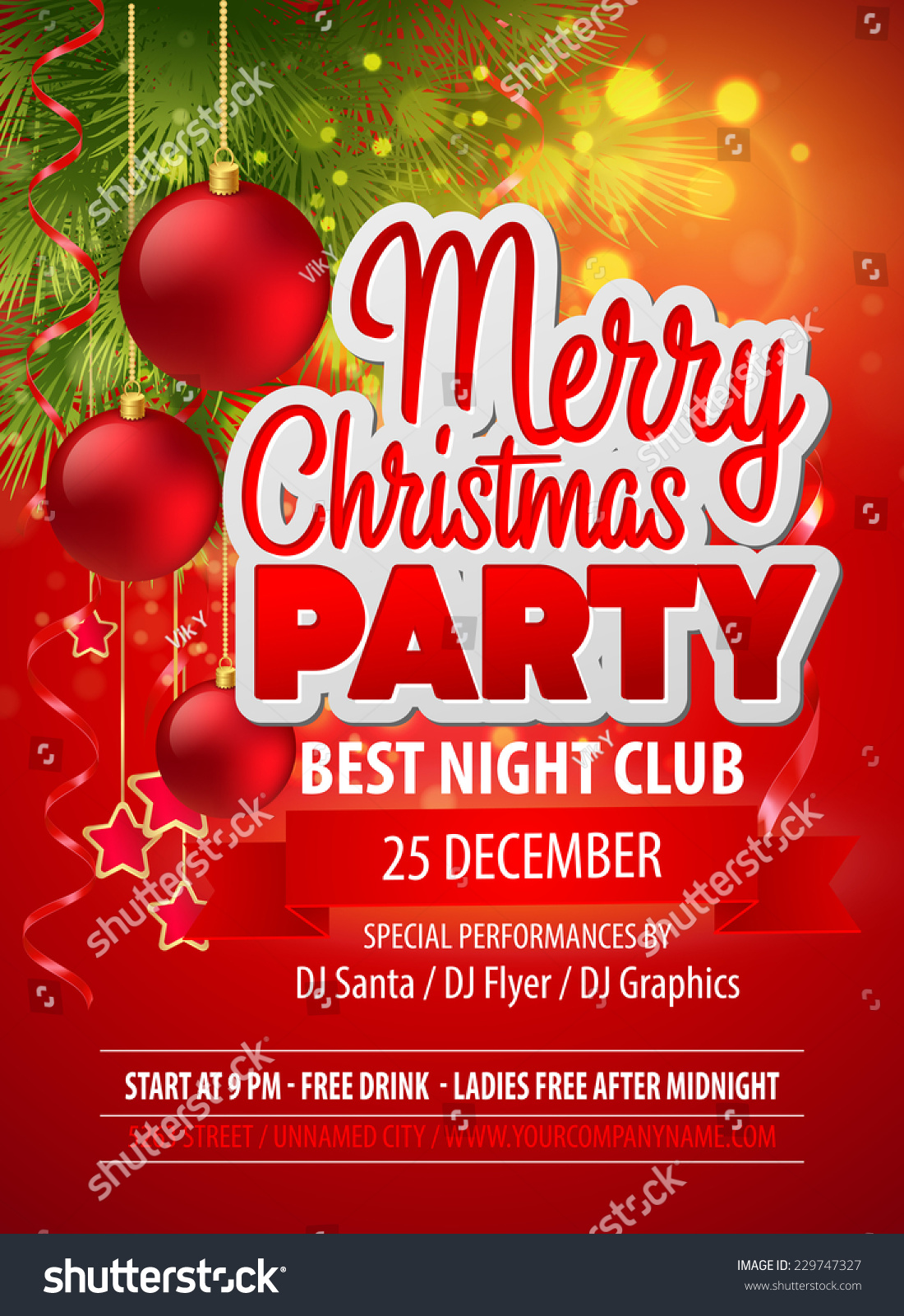 royalty christmas party flyer vector template 229747327 christmas party flyer vector template 229747327