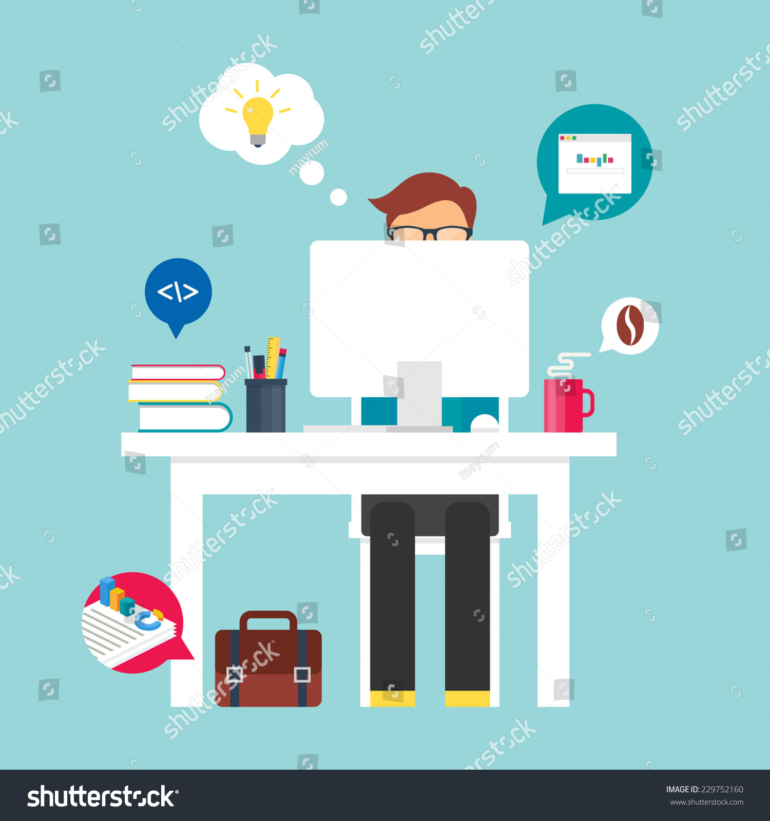 Man Sitting Desktop Working On Computer Stock Vector