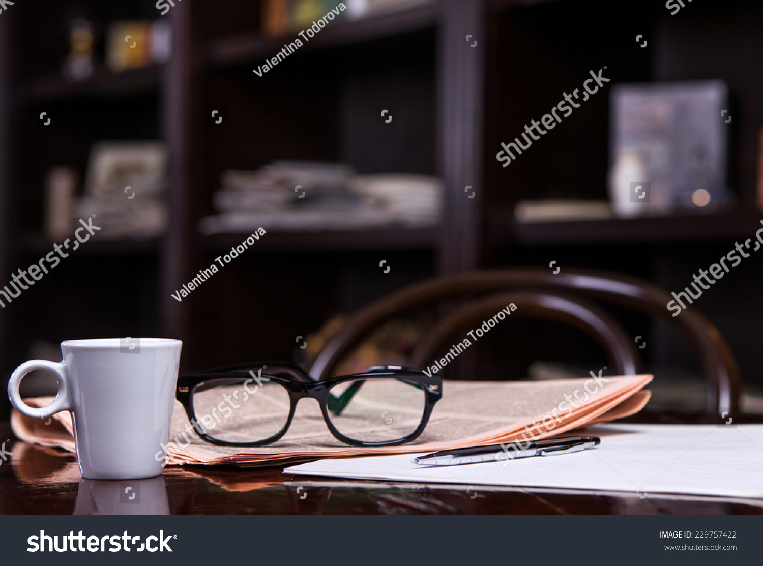 5eab2ccb3ef8 Newspapers Coffee Cup Reading Glasses Pen Stock Photo (Edit Now ...
