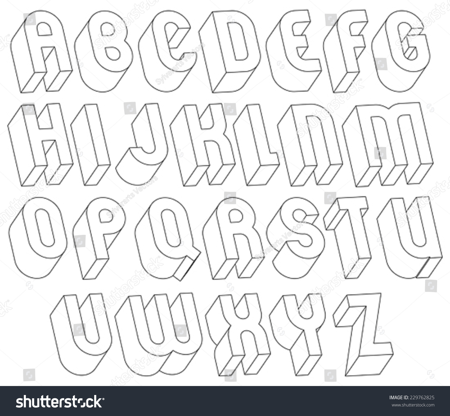 Black White 3d Font Made Thin Stock Vector 229762825 ...