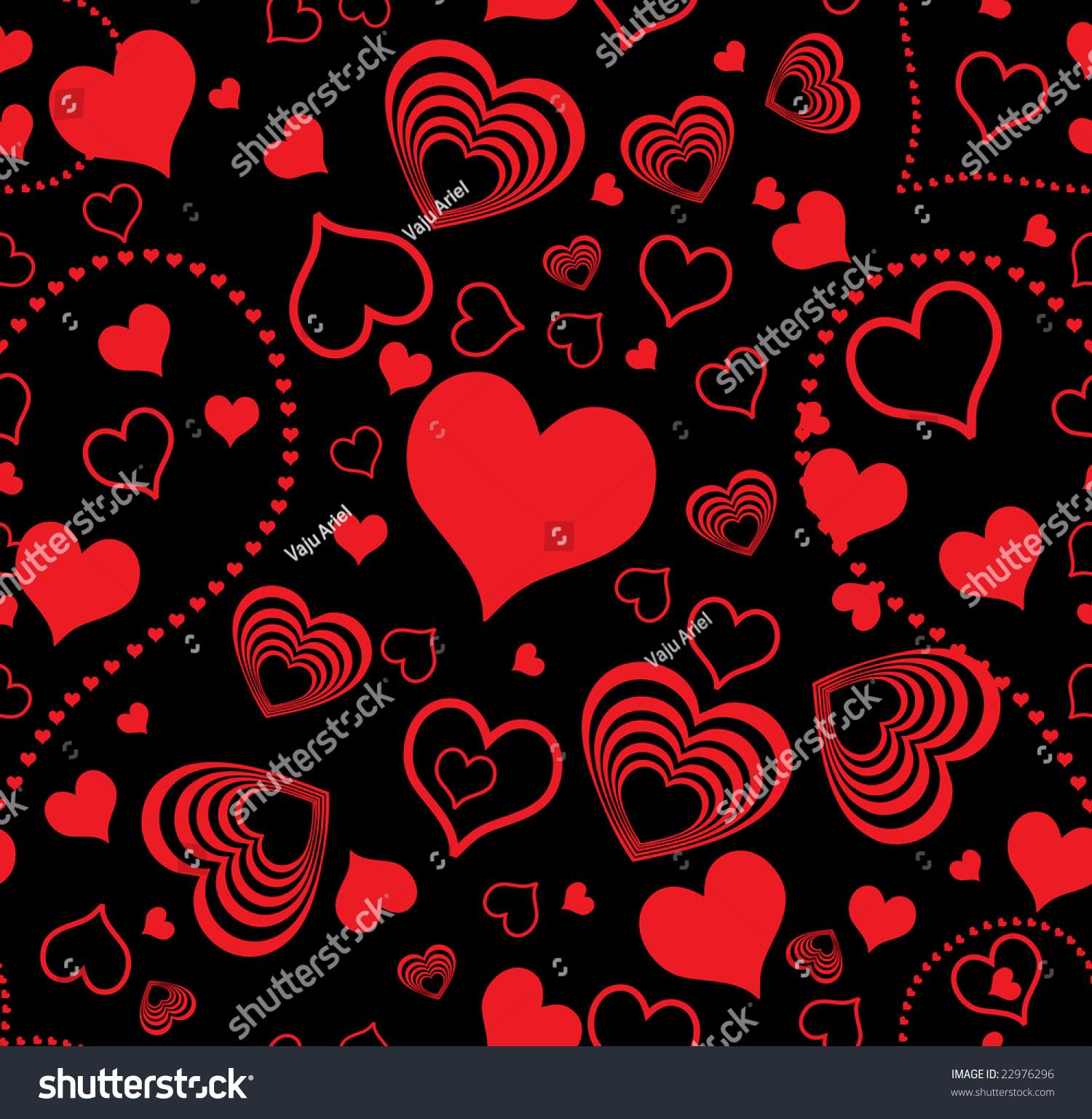Raster Version Seamless Wallpaper Valentine Hearts Stock