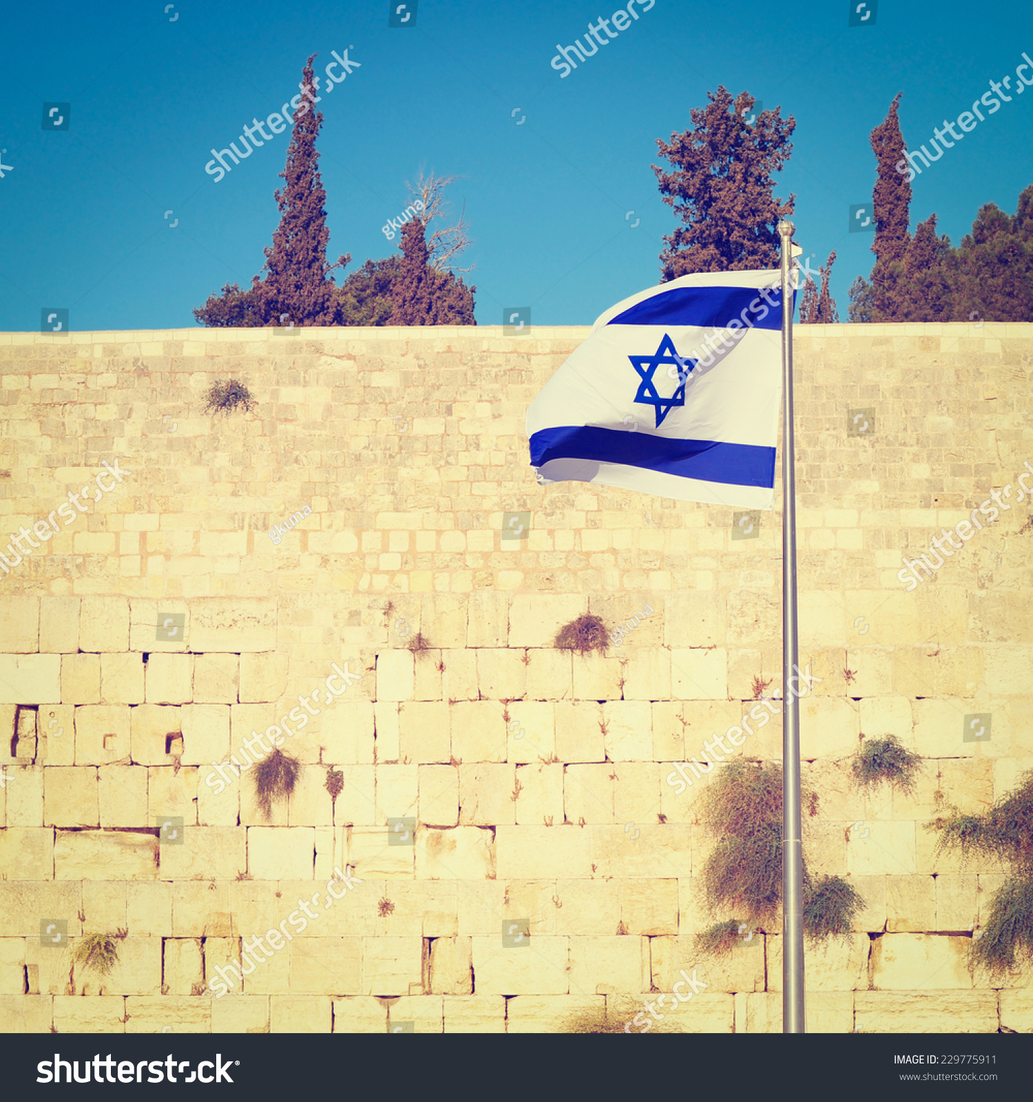 Israel Flag Against Western Wall Jerusalem Stock Photo (Edit Now ...