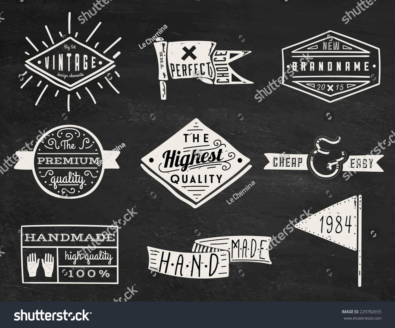Set Of Chalk Hipster Vintage Retro Labels And Logo On ...