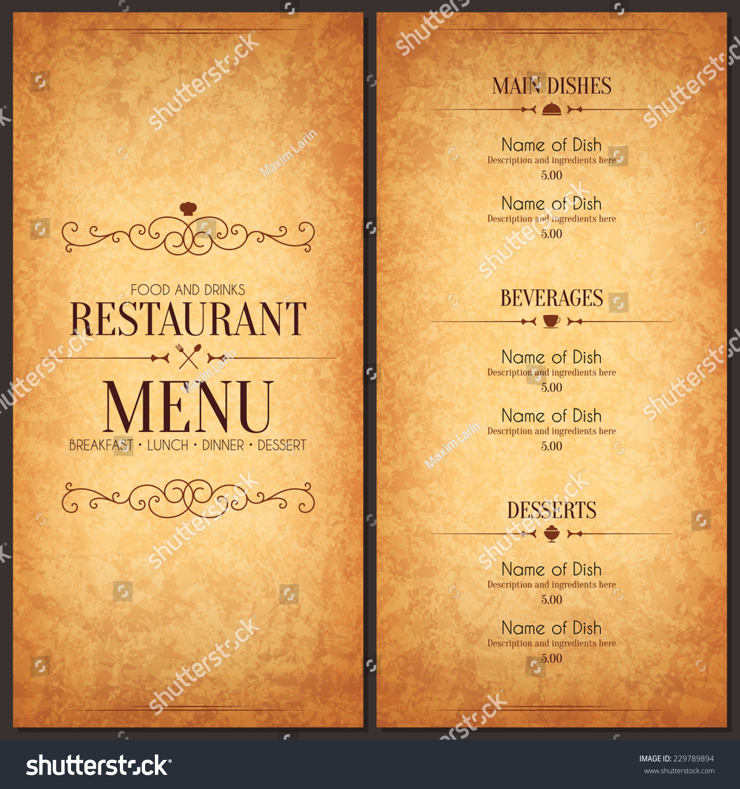 restaurant menu design vector menu brochure stock vector 229789894 vector menu brochure template for cafe coffee house restaurant