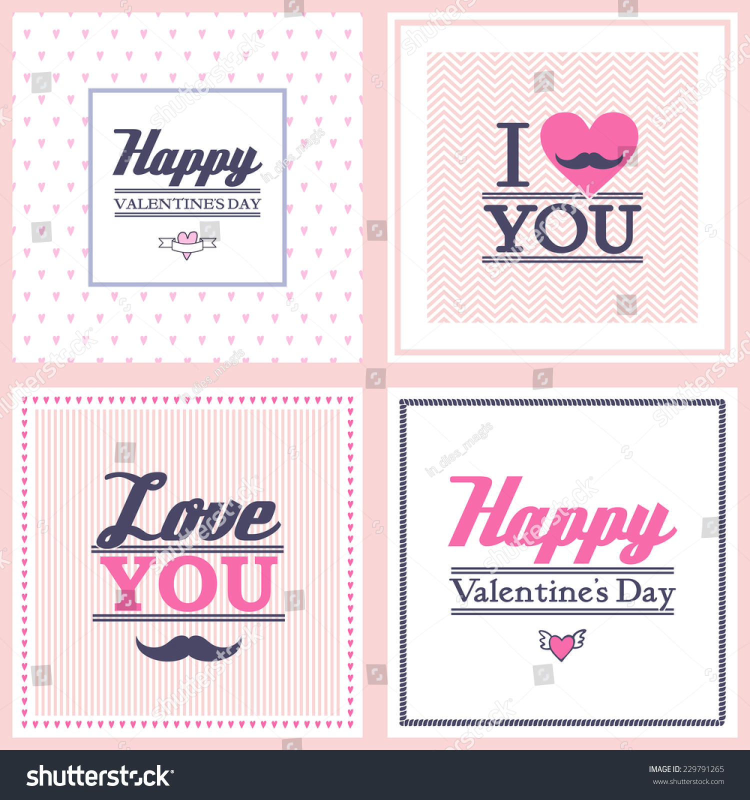 Happy Valentines Day Cards On Different Vector 229791265 – Different Valentines Cards