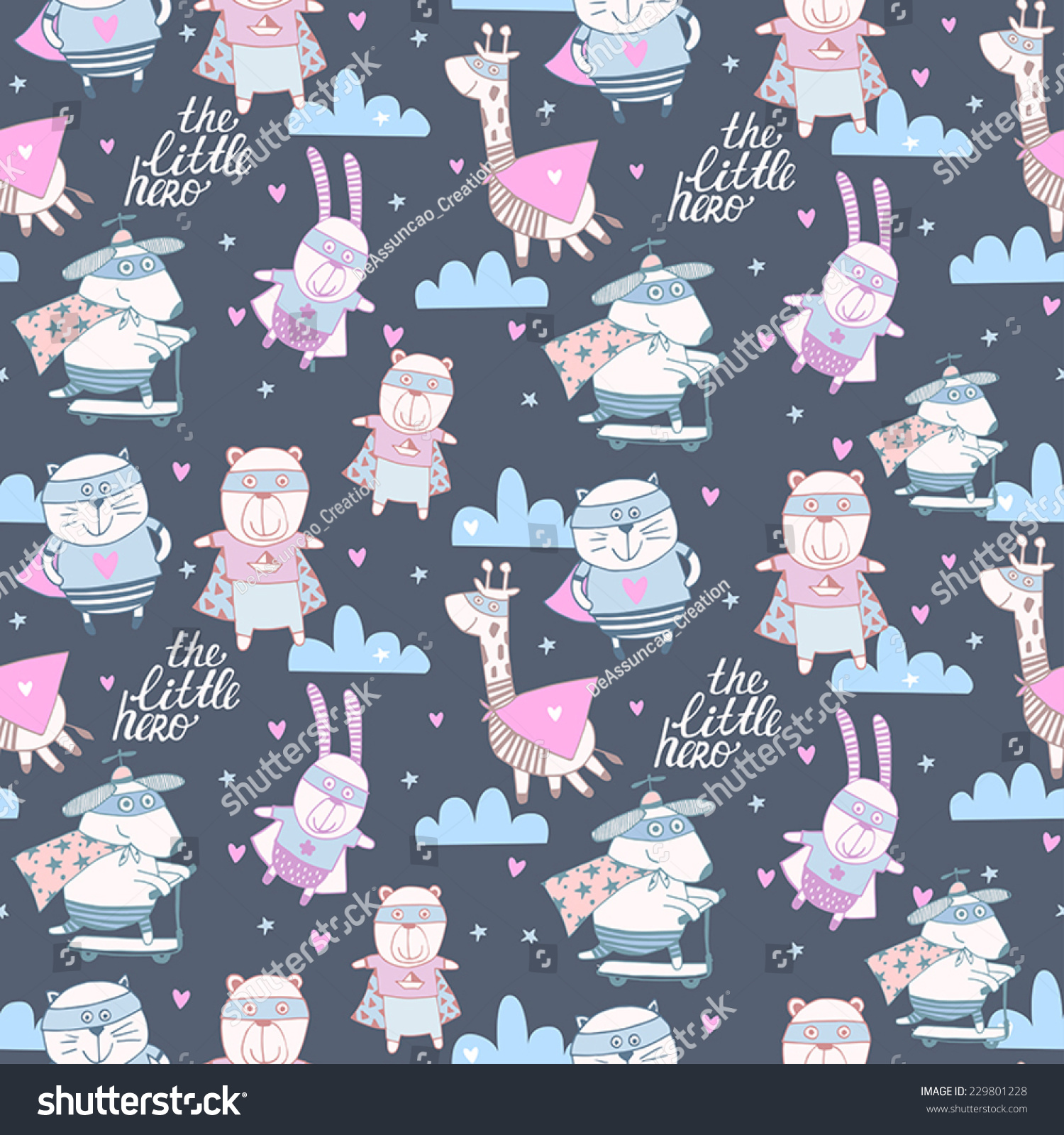 Cartoon animals in pastel colors childish set the little hero seamless background