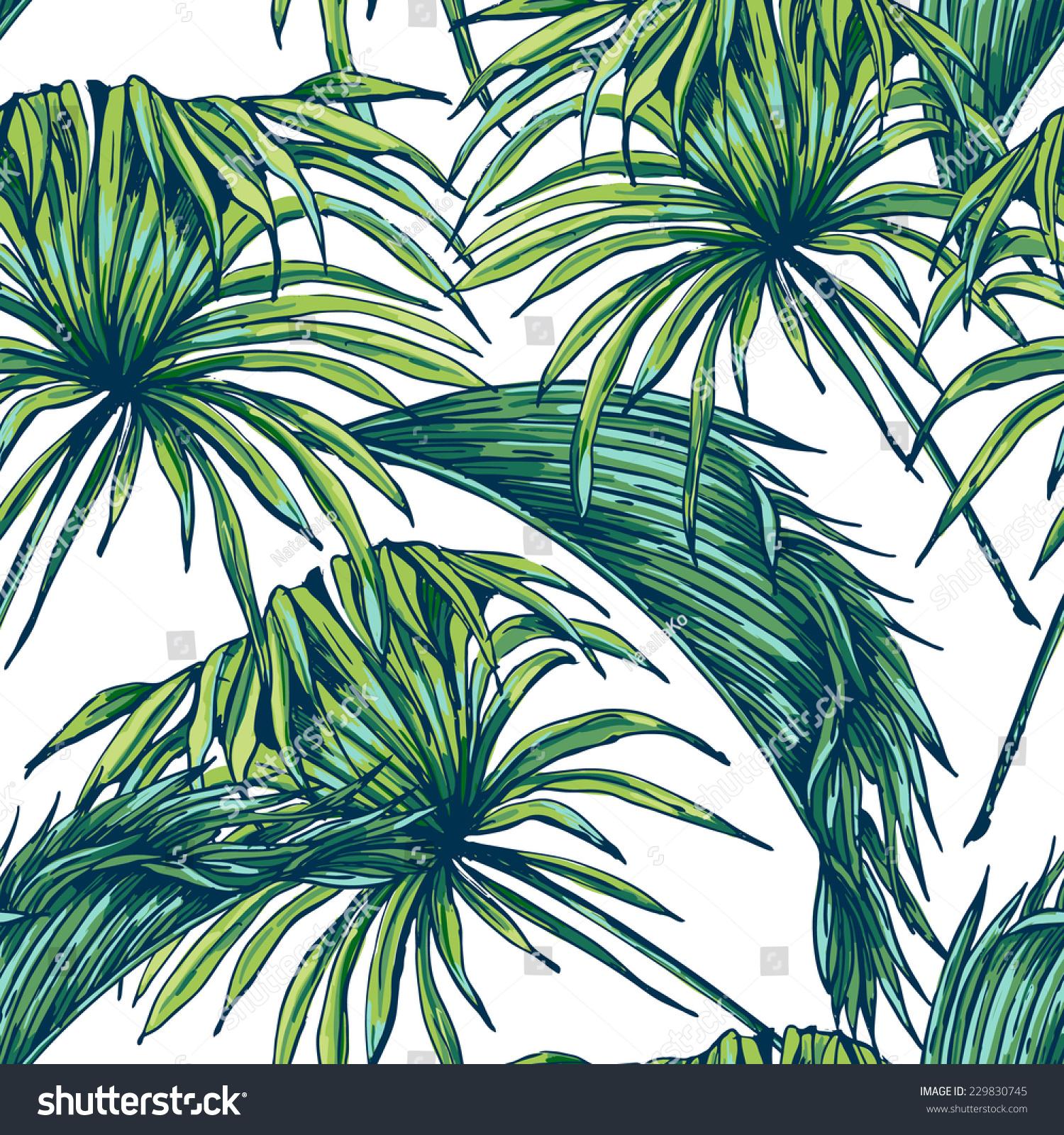 Beautiful Seamless Tropical Jungle Floral Pattern Stock Vector 229830745 Shutterstock