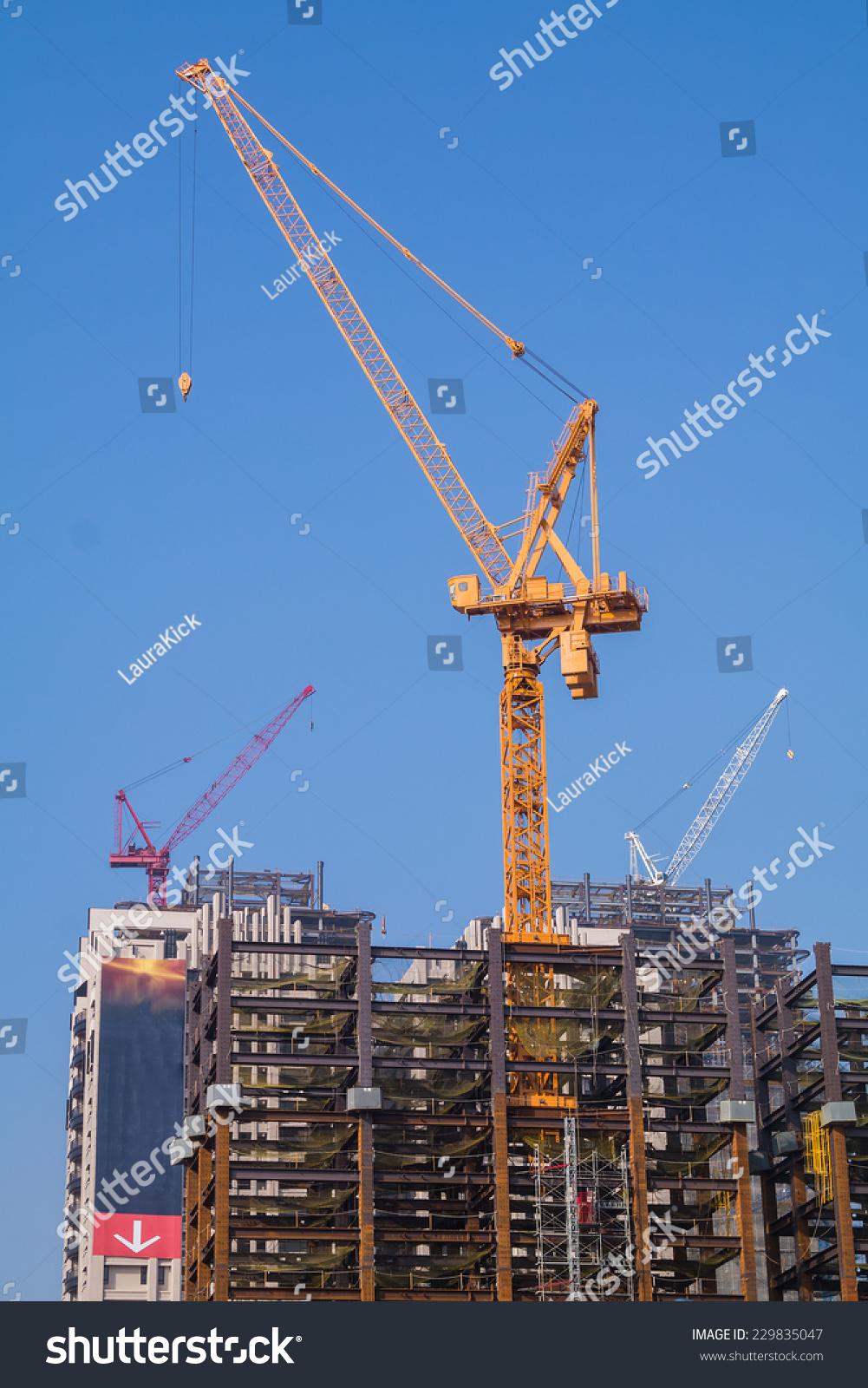 Yellow Tower Crane On Top Steel Stock Photo (Edit Now) 229835047