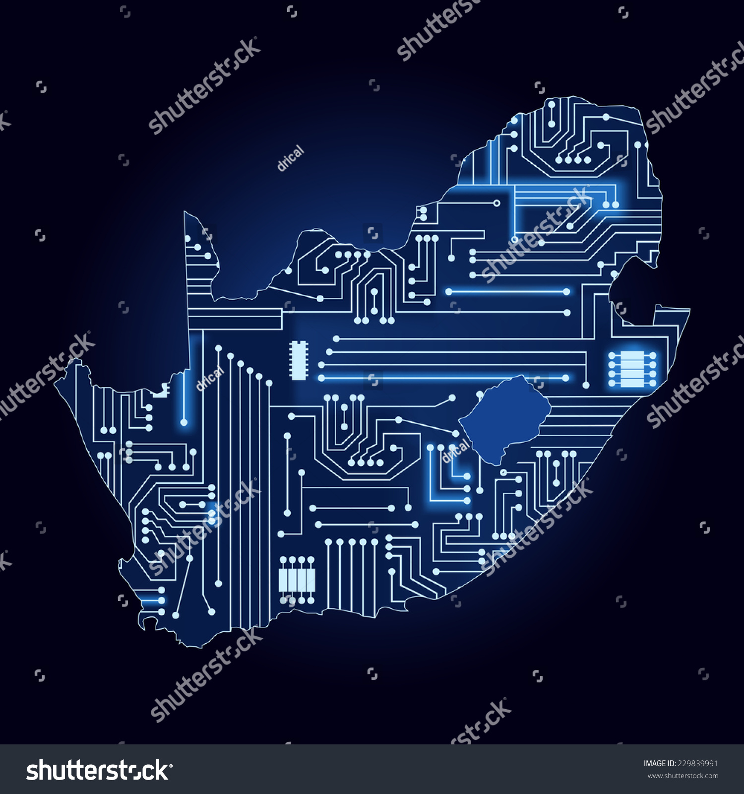 Map South Africa Electronic Circuit Contour Stock Vector (Royalty