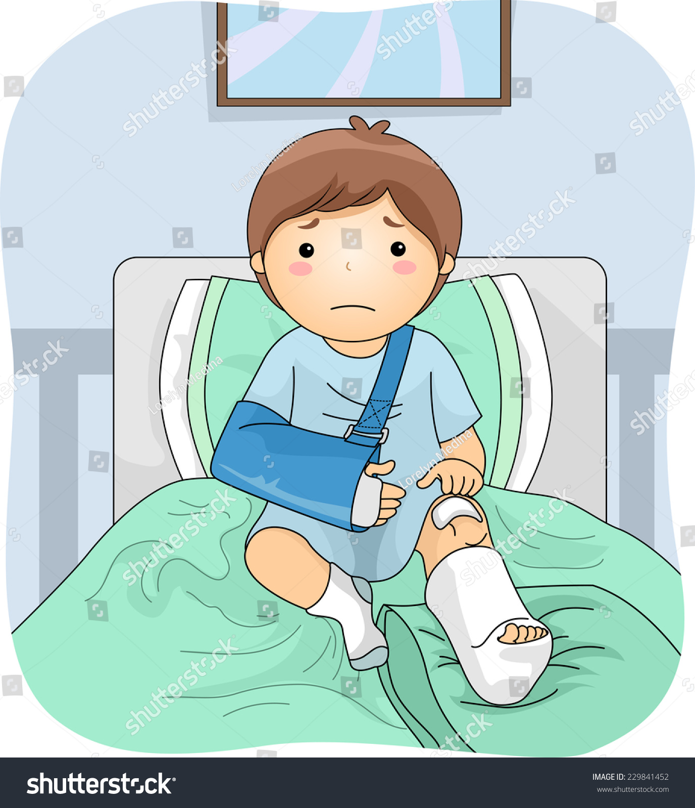 illustration featuring injured boy wearing leg stock vector (royalty
