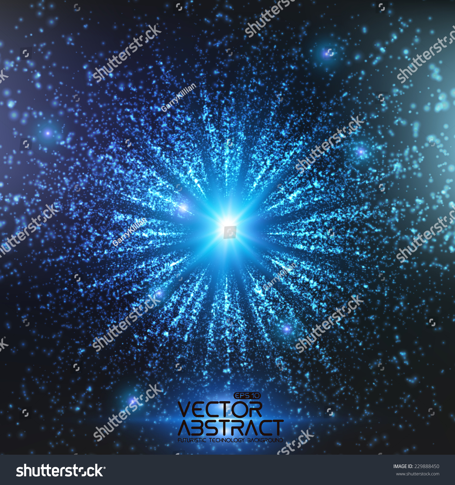 Abstract Vector Space Background. Explosion Of Glowing ...