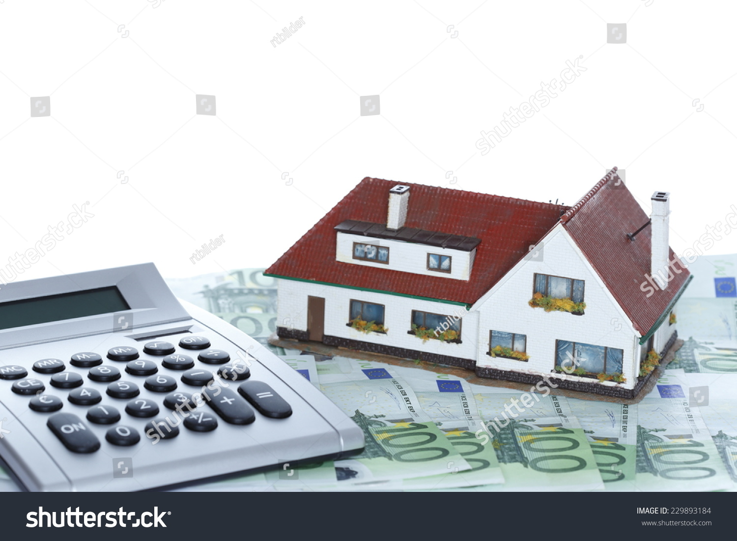 House Money Calculator White Background Stock Photo