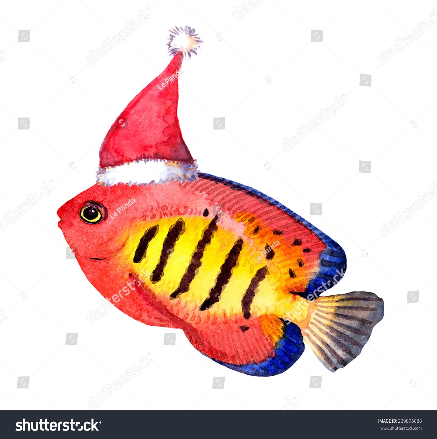 Exotic Character Christmas Fish Red Santas Stock Illustration ...