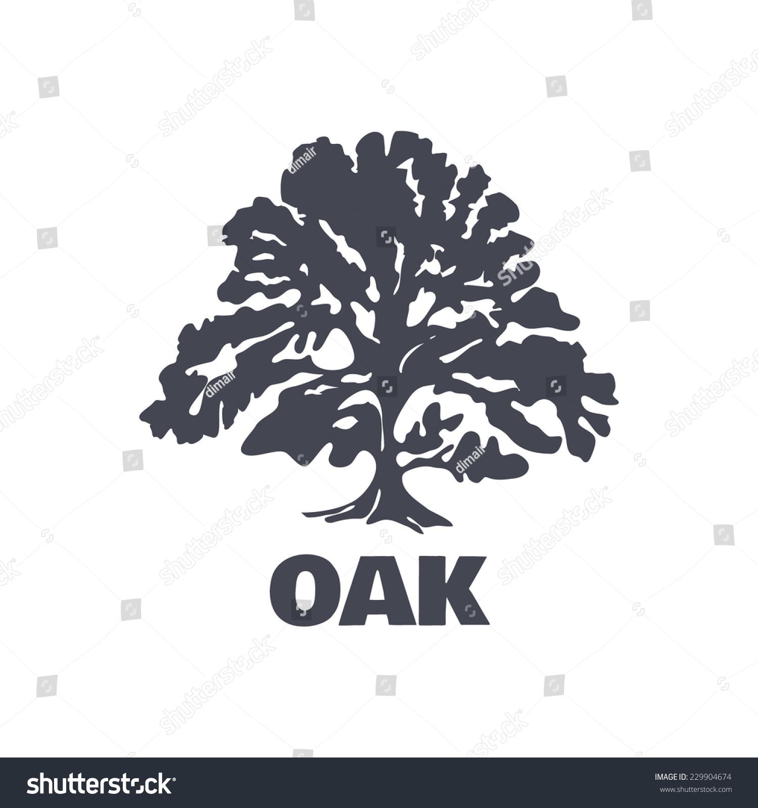 Oak Tree Logo Silhouette Isolated Vector Stock Vector 229904674 ...