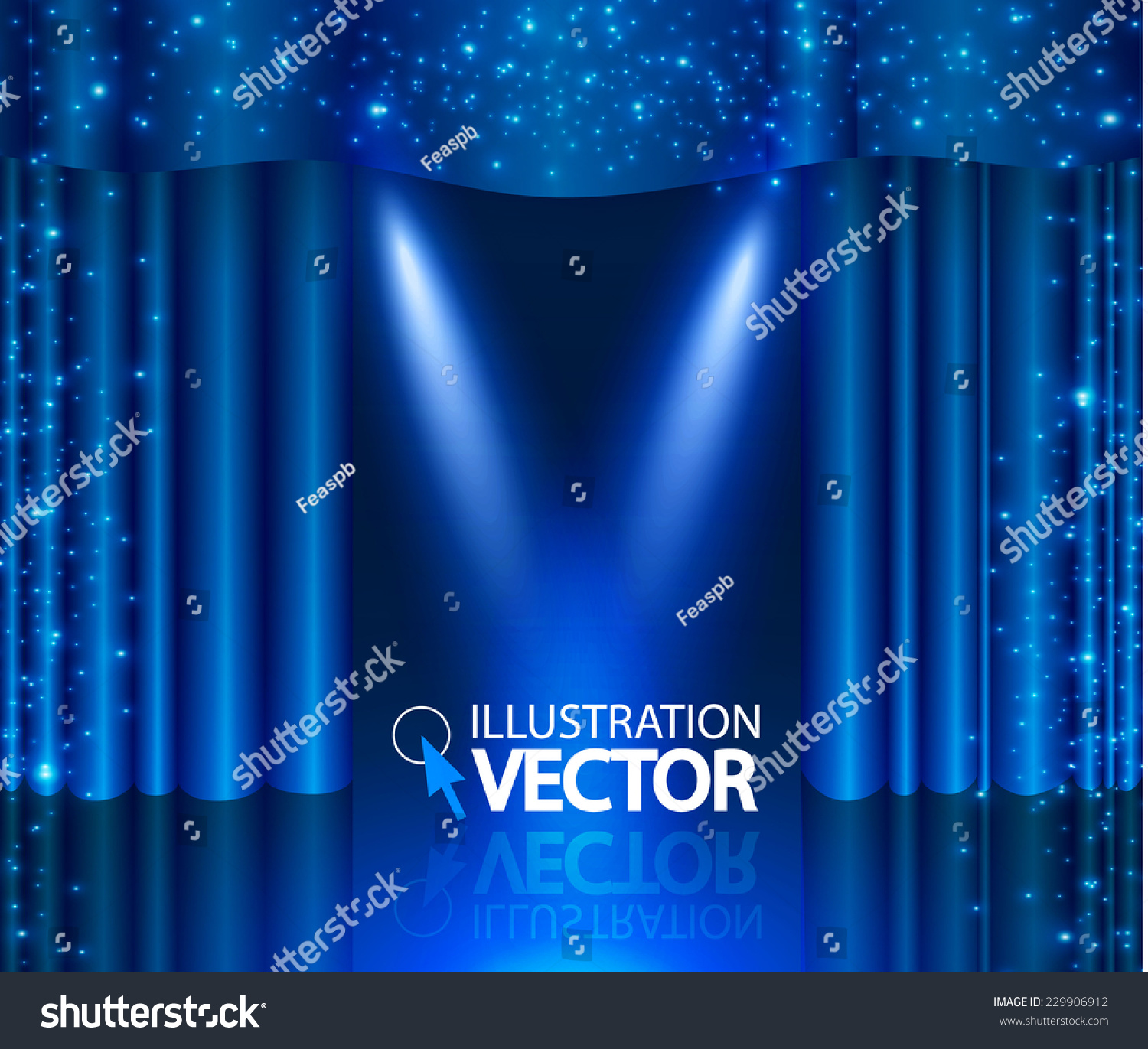 Blue stage curtains blue stage curtain vector free vector in - Empty Scene With Stage Curtain Spotlight Vector Illustration
