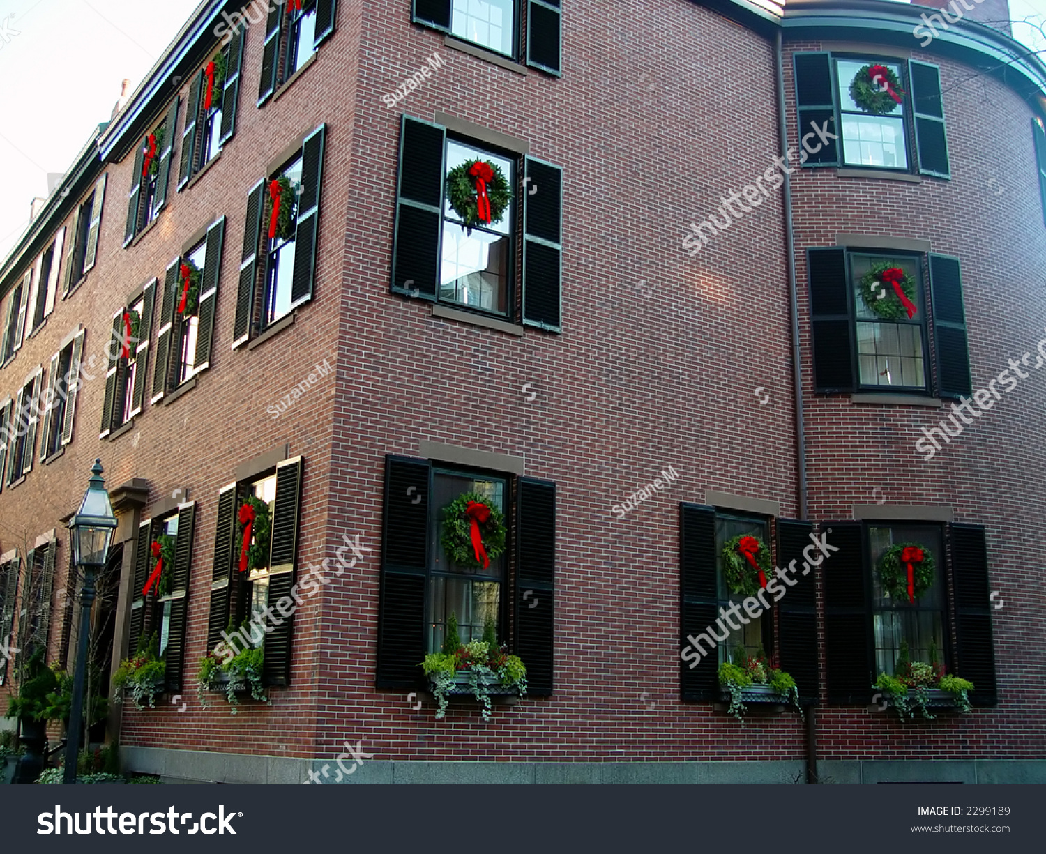 Old Brick Apartment Building Shutters Adorned Stock Photo
