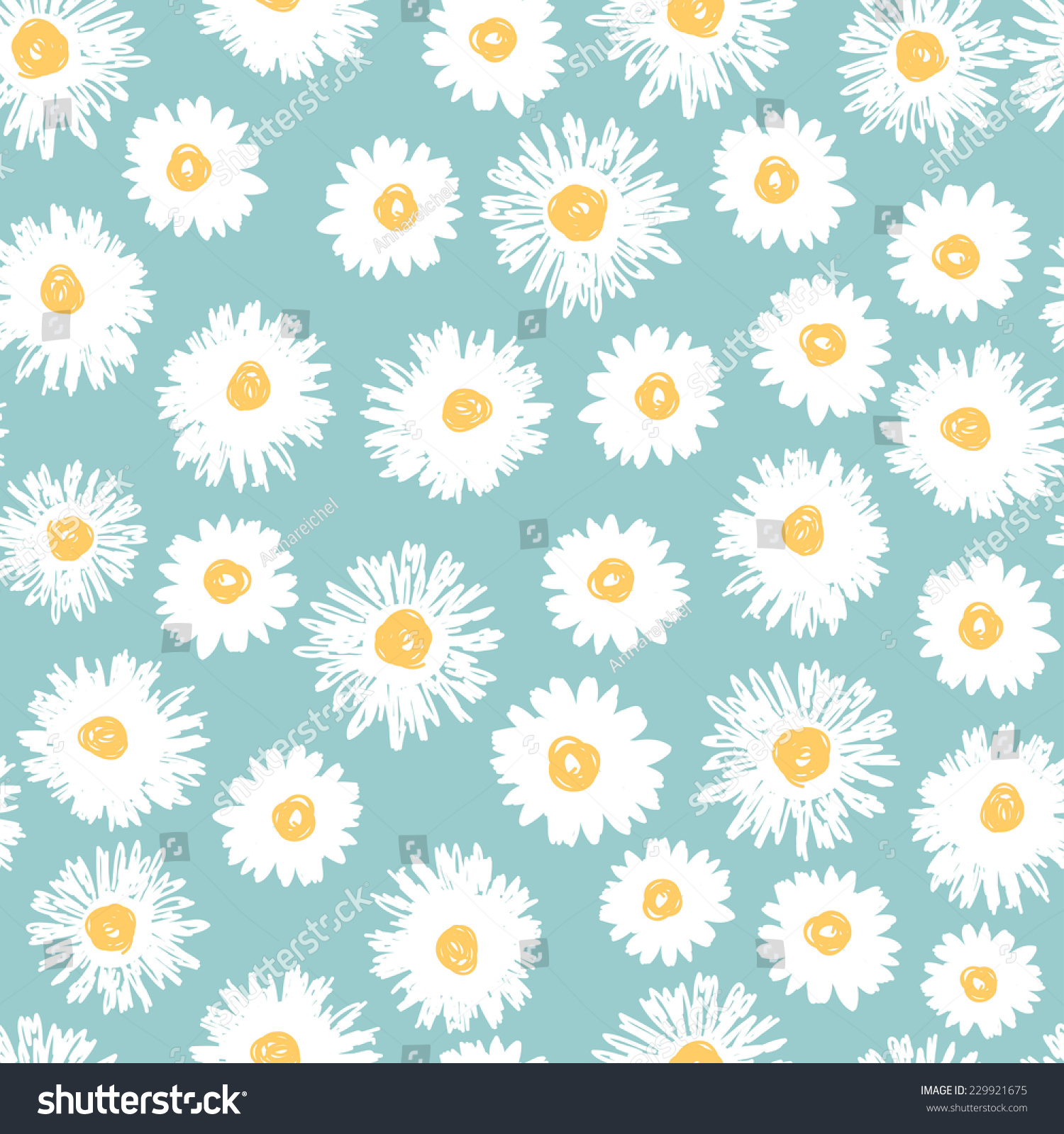 Simple Daisy Flowers Seamless Pattern Naive Stock Vector Royalty