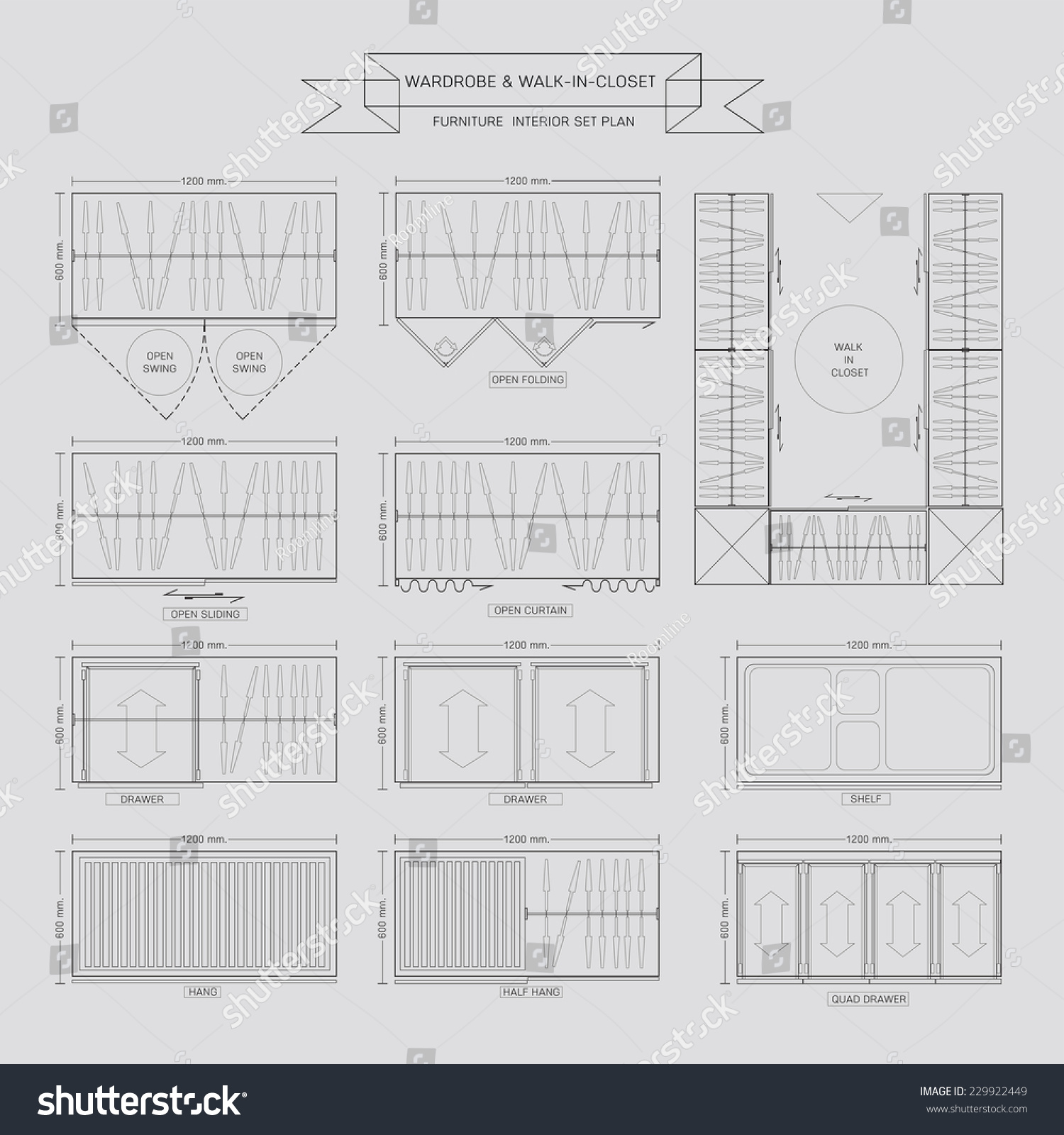 Wardrobe And Walk In Closet Furniture Icon, Top View For Interior Plan