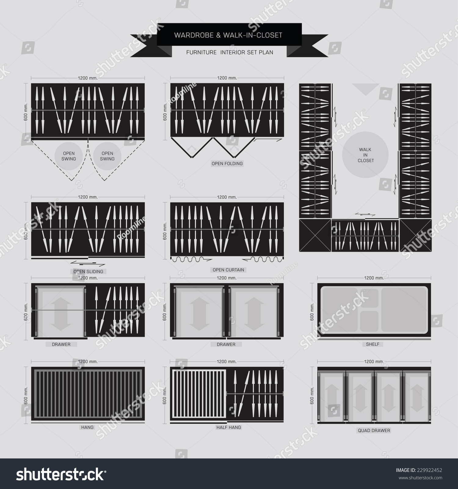 Wardrobe And Walk In Closet Furniture Icon Top View For Interior Plan Stock Vector Illustration