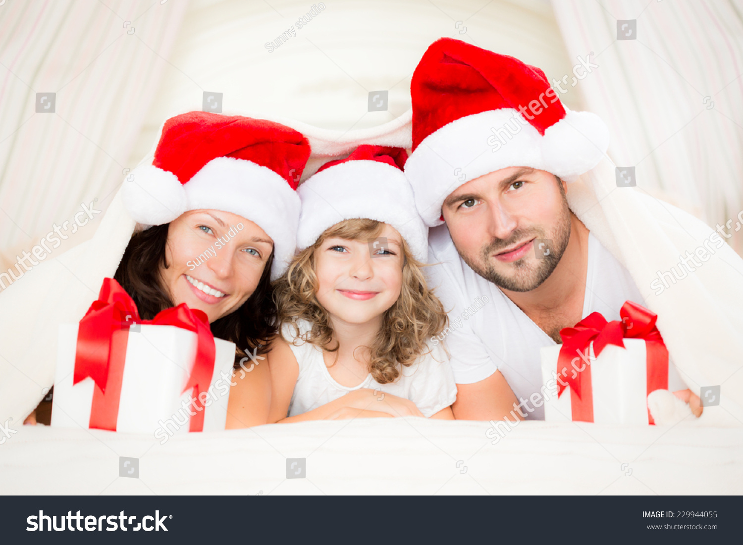 Happy Family With Christmas Gift Xmas Holiday Concept