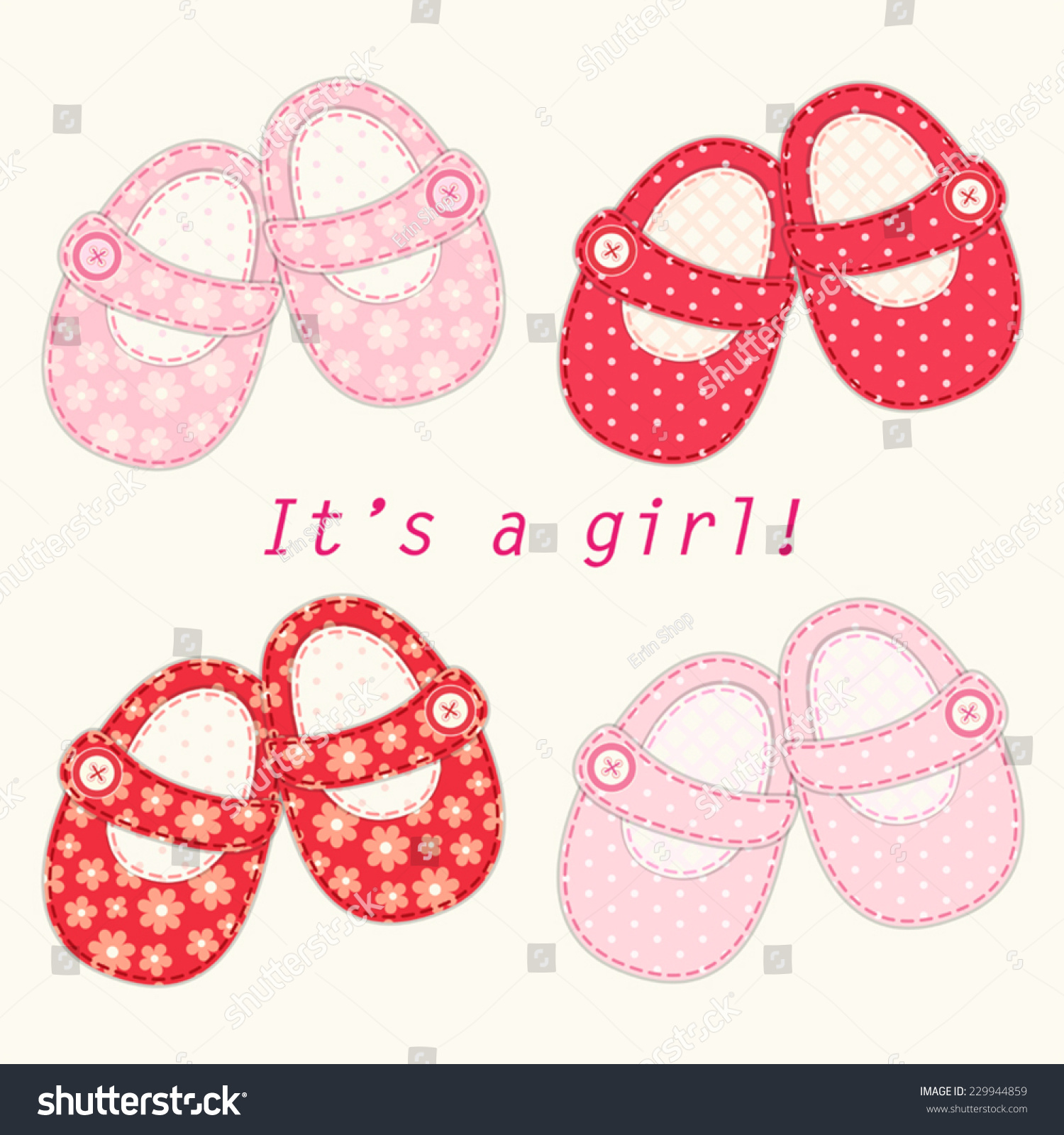 Set Cute Baby Girl Shoes Retro Stock Vector Shutterstock