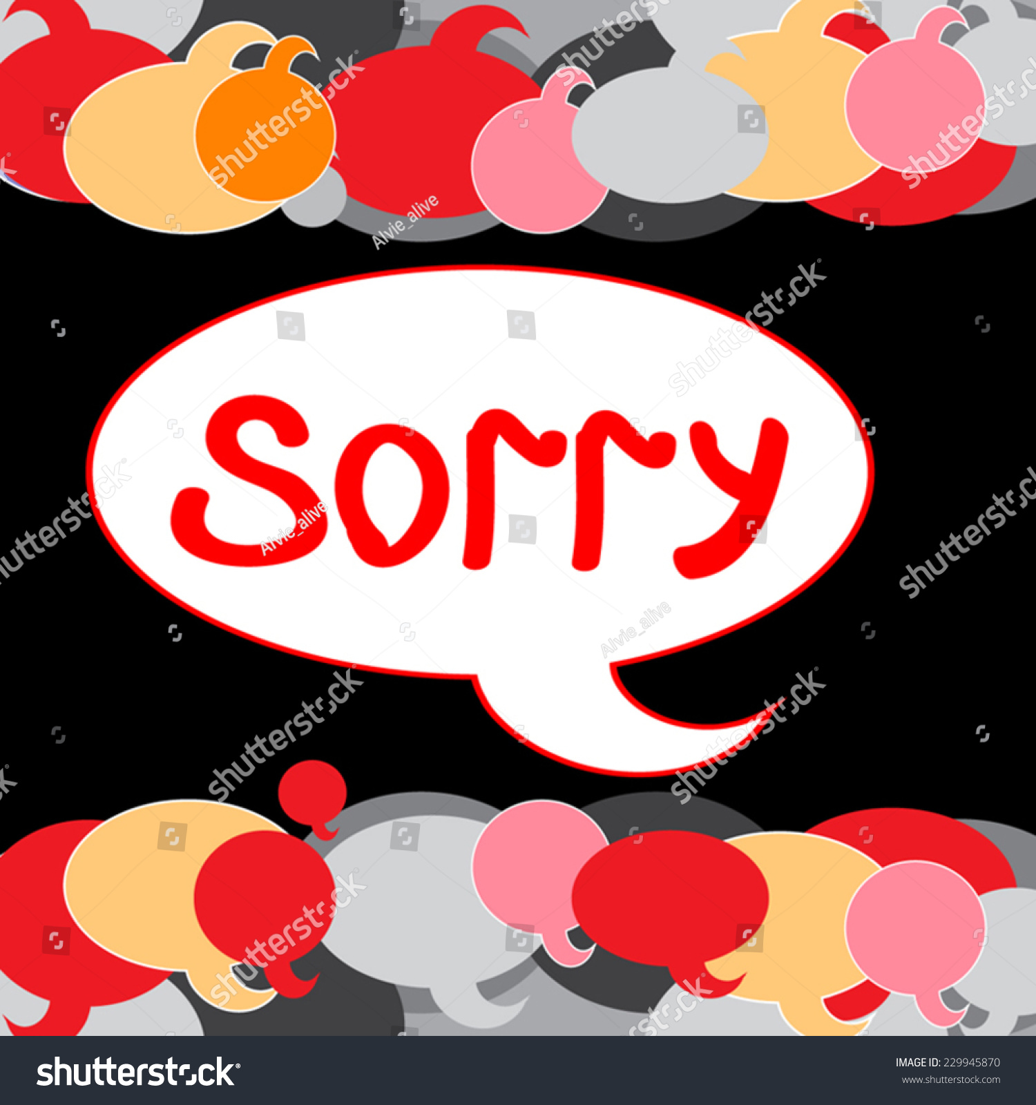 sorry vector illustration hand written text stock vector (royalty