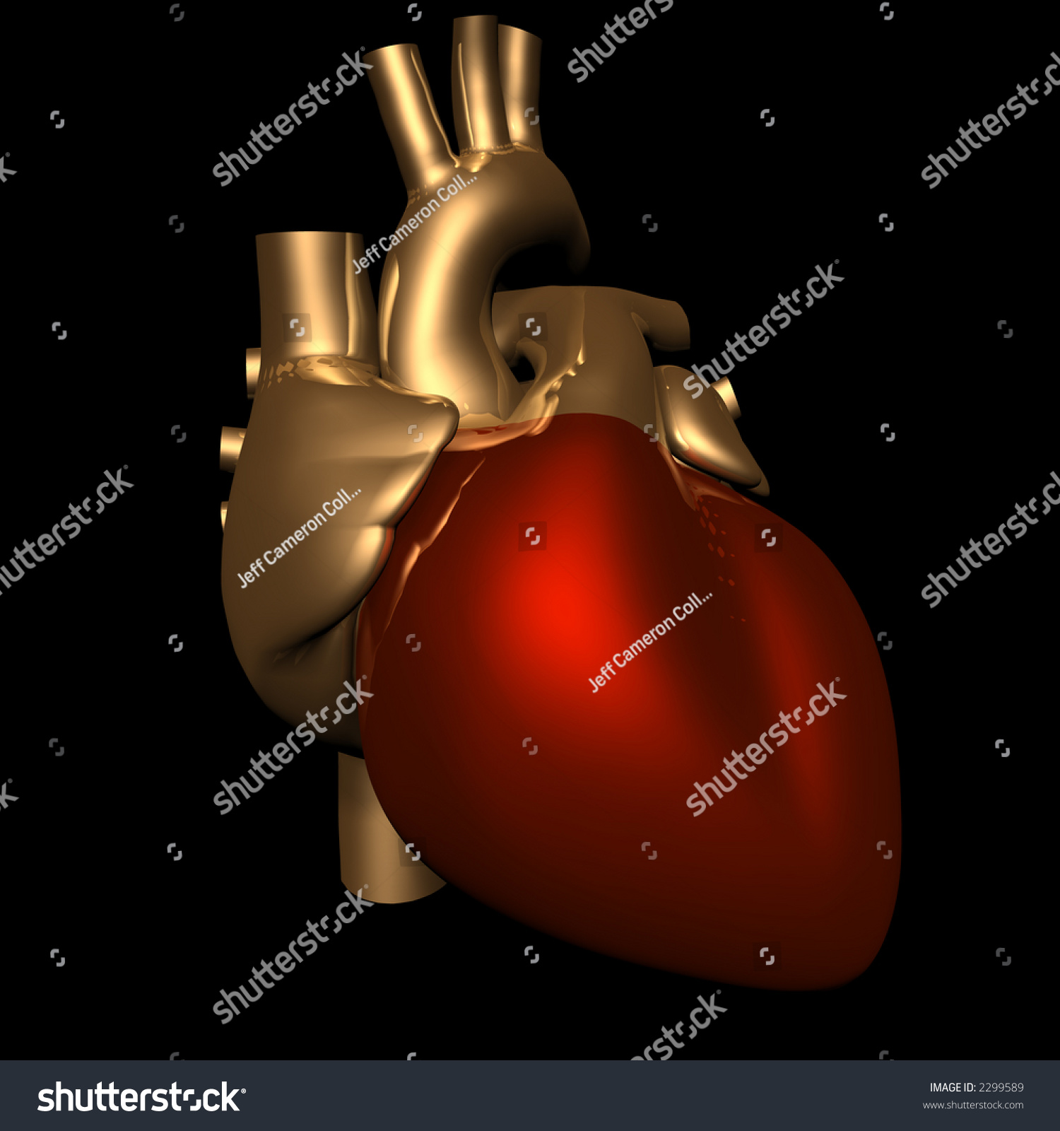 Human Heart In Metallic Gold And Red - 3d Rendered Stock ...