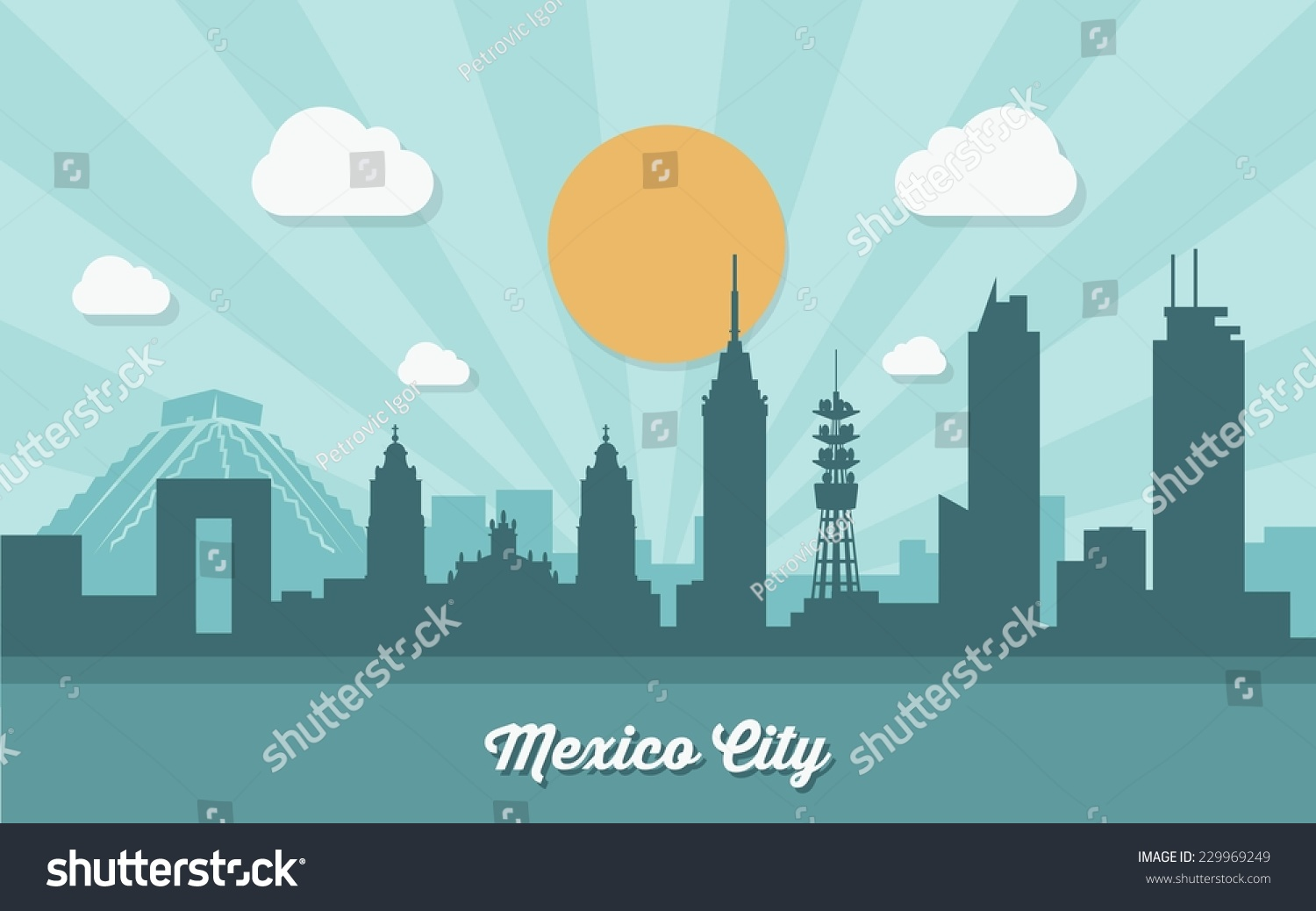 Mexico City Skyline Flat Design Vector Stock Vector