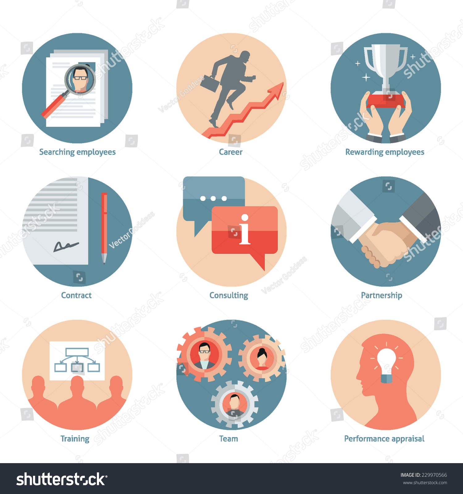 Set flat design vector illustration icons stock vector for Design and development consultants