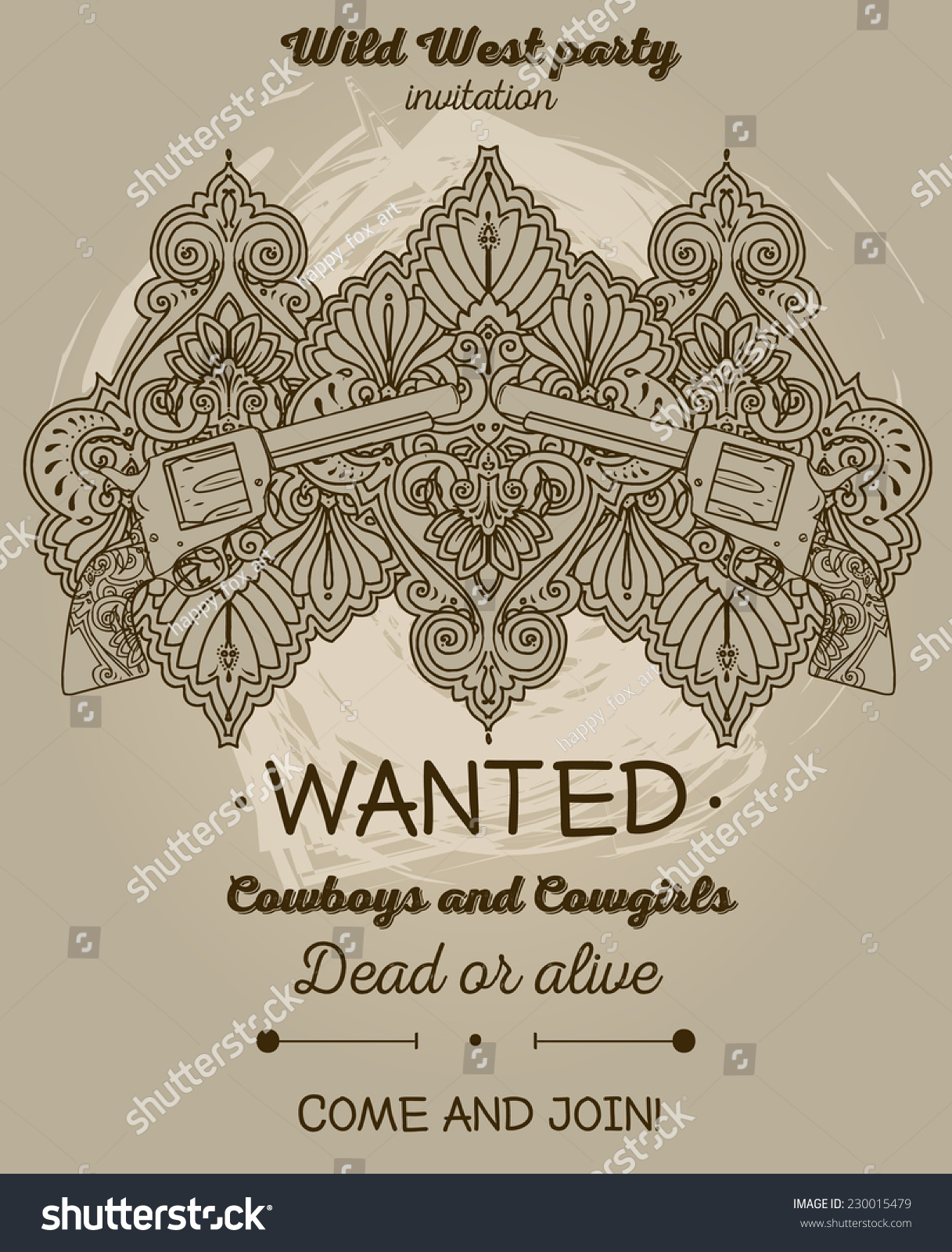 Wanted Poster Wild West Party Invitation Stock Vector 230015479 ...