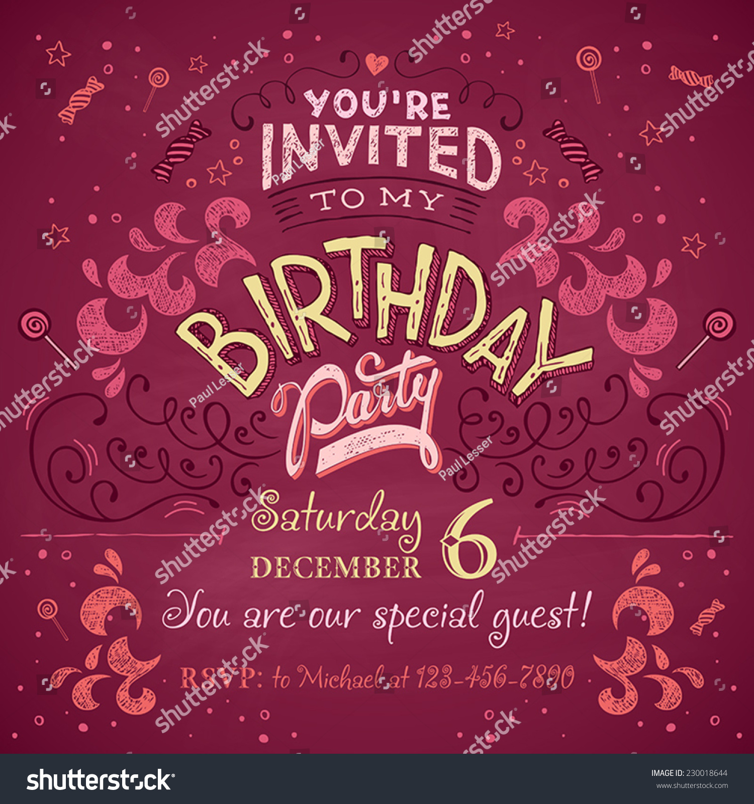 Vintage Birthday Party Invitation Card Design Stock Photo (Photo ...