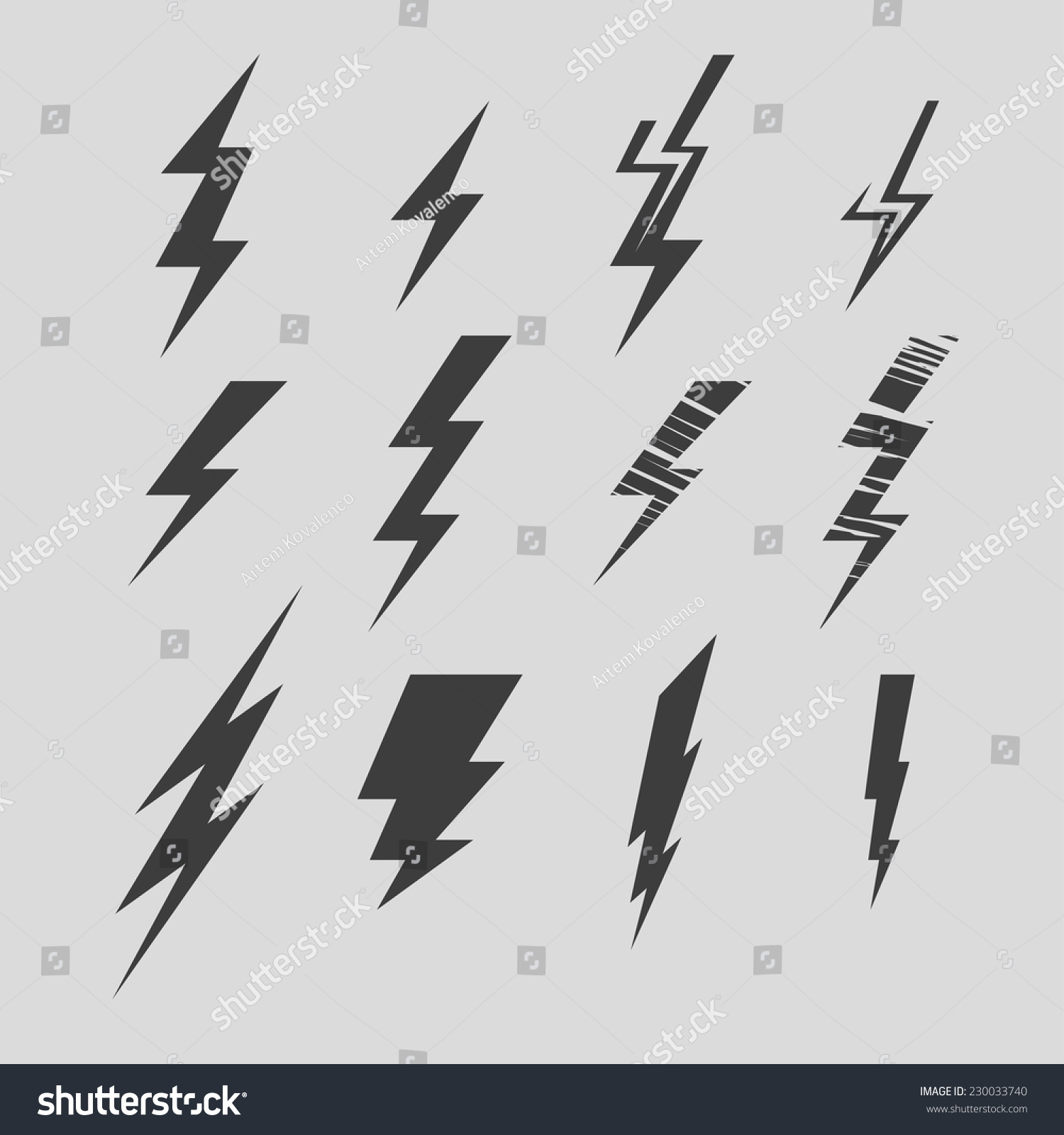 Vector Illustration Set Abstract Lightning Electric Stock Vector