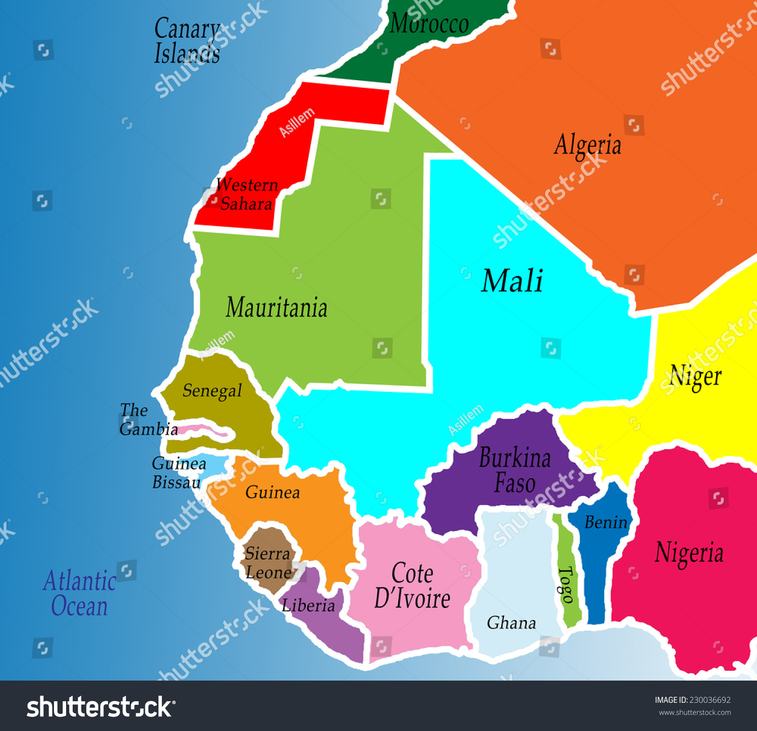 Political Map West Africa Colorful Bright Stock Illustration 230036692