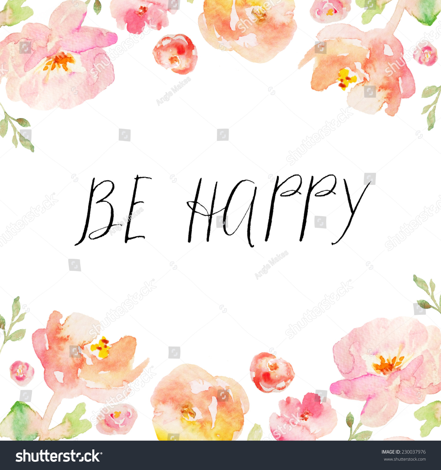 Be Happy Quote On Hand Painted Stock Illustration