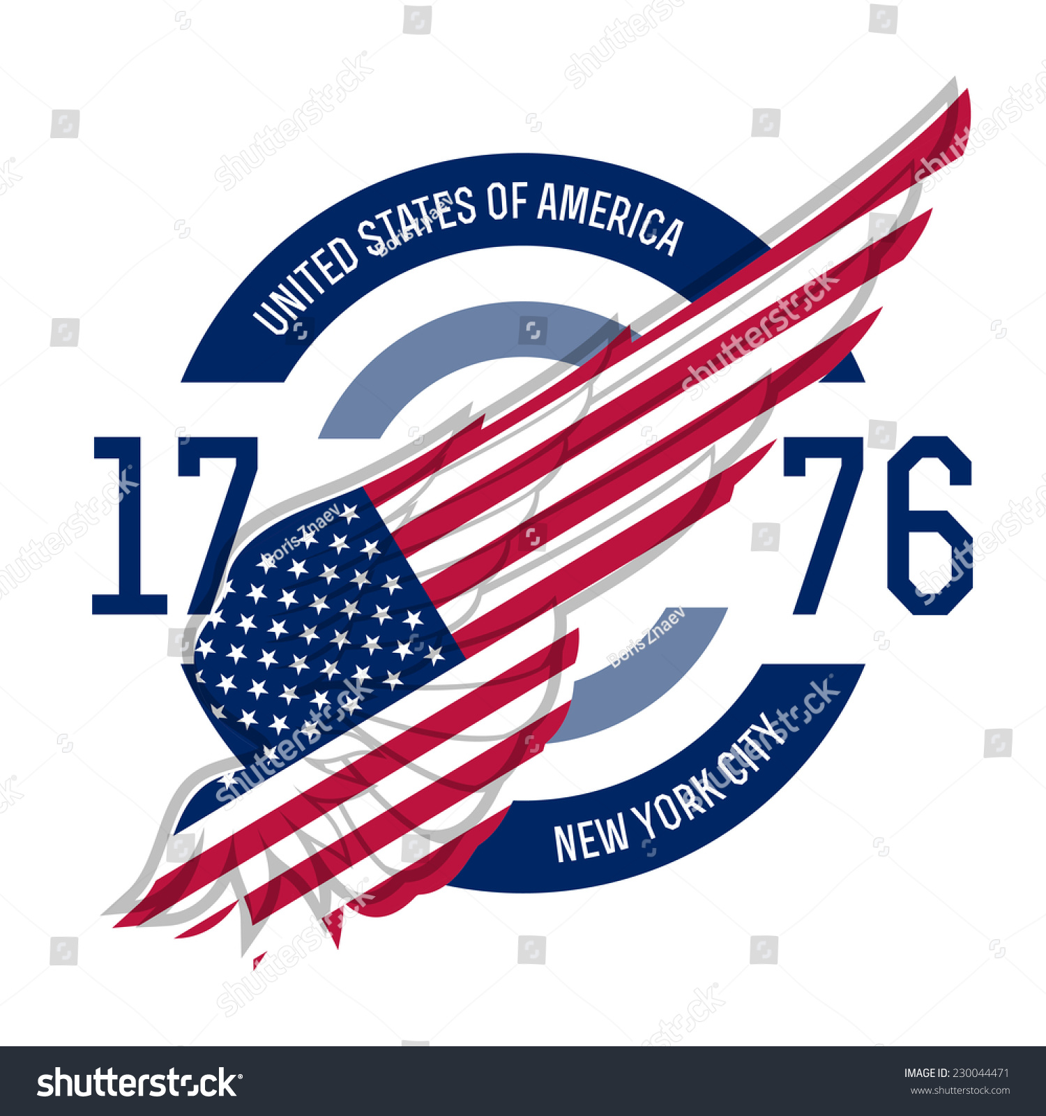 Shirt design usa - New York T Shirt Design Tee Templates With Wing And Usa Flag Colors And