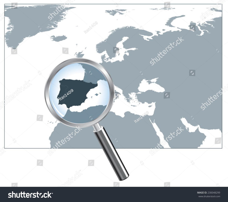 Peninsula In Europe Map.Europe Map Loupe Iberian Peninsula Gray Stock Vector Royalty Free