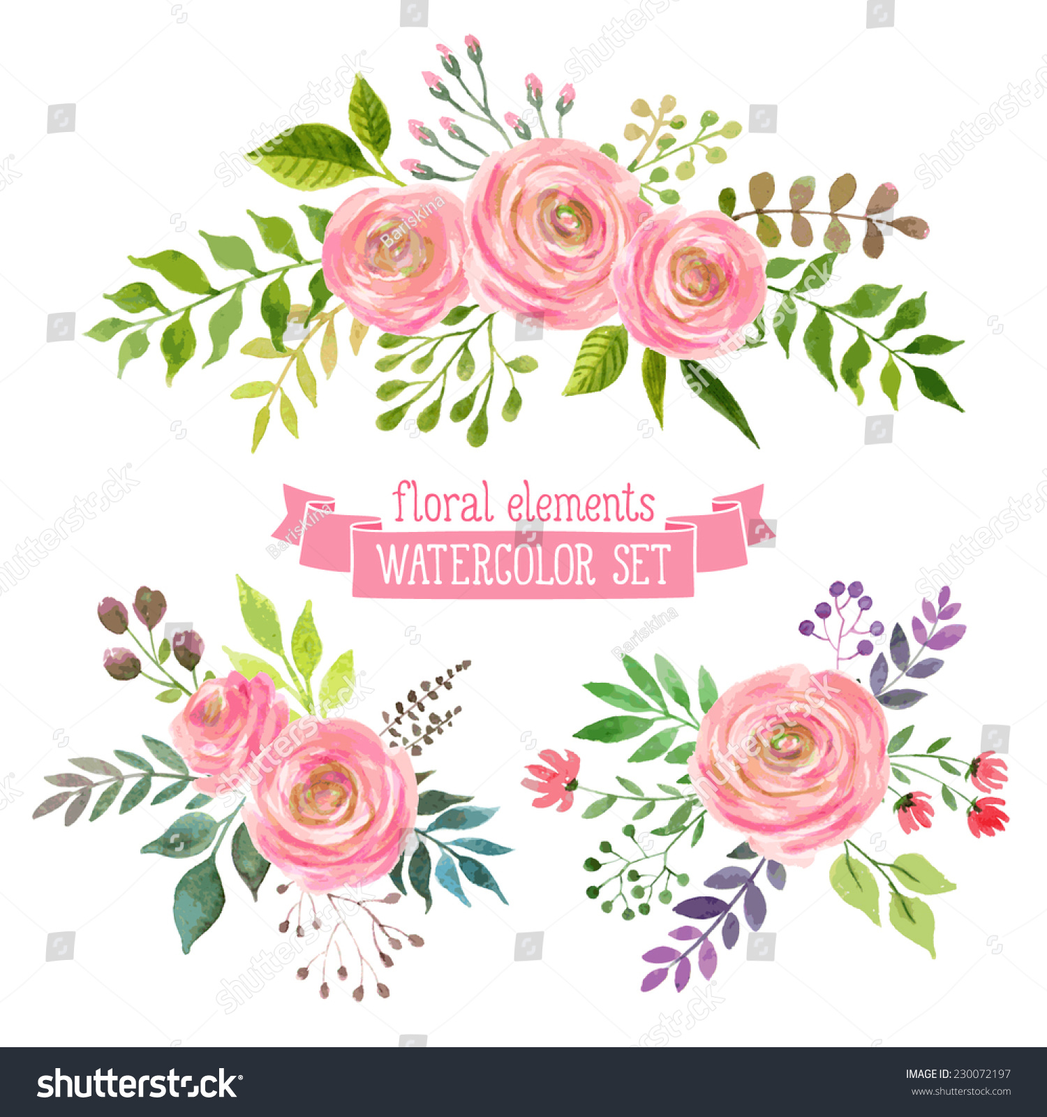 Royalty Free Vector Flowers Set Colorful Floral 230072197 Stock
