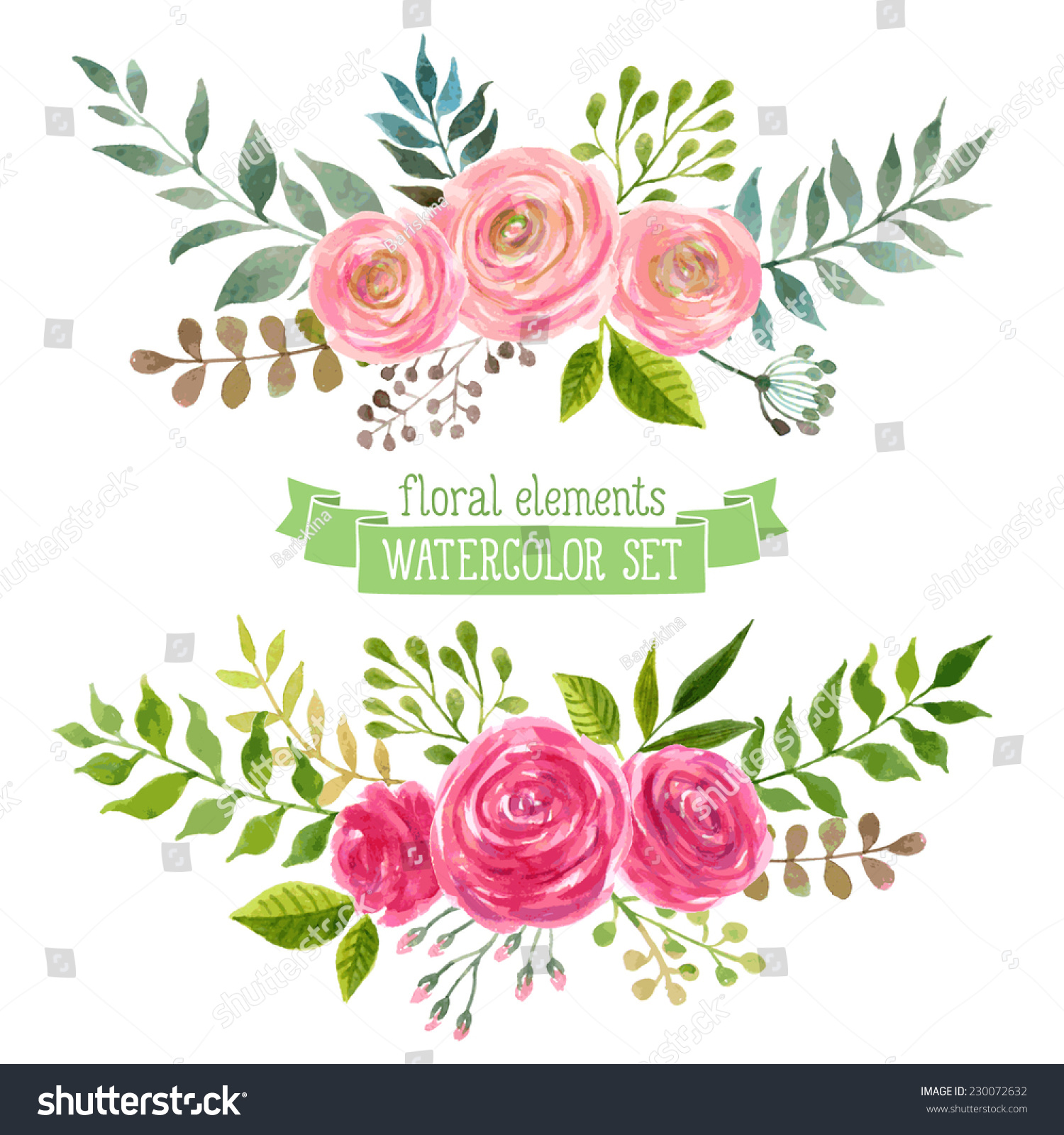 Royalty Free Vector Flowers Set Colorful Floral 230072632 Stock