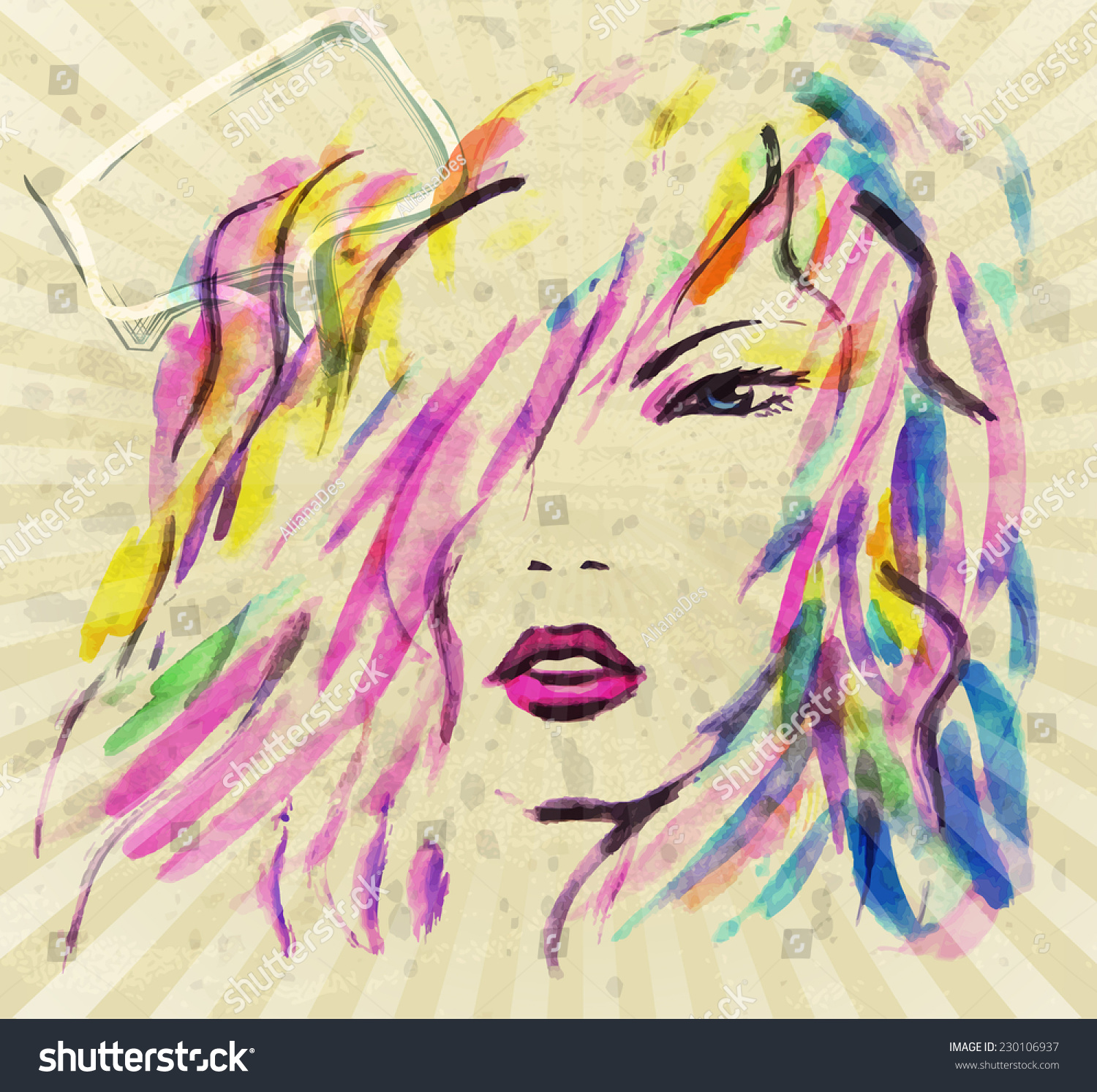 Stock Vector Beautiful Fashion Women With Watercolor Abstract