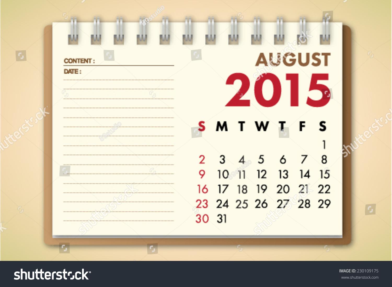Calendar Notebook 2015 : August calendar notebook paper vector