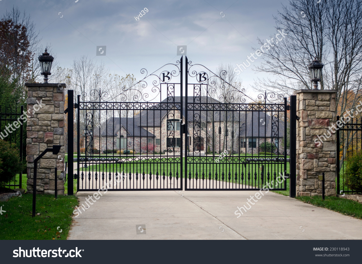 Fancy Large Mansion Behind A Locked Gate Stock Photo