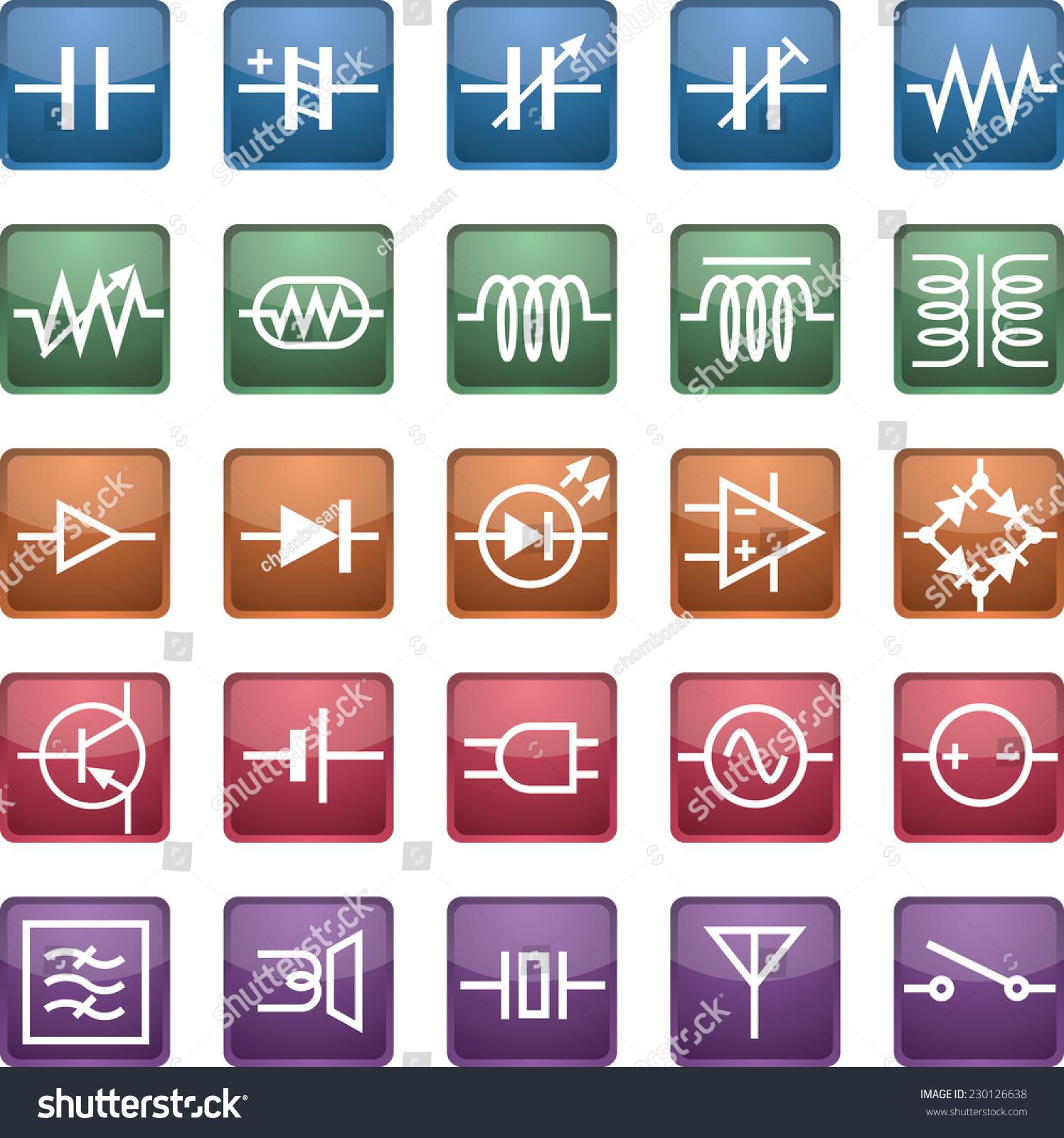 Schematic Symbol Icon Capacitors Resistors Coils Stock Vector (2018