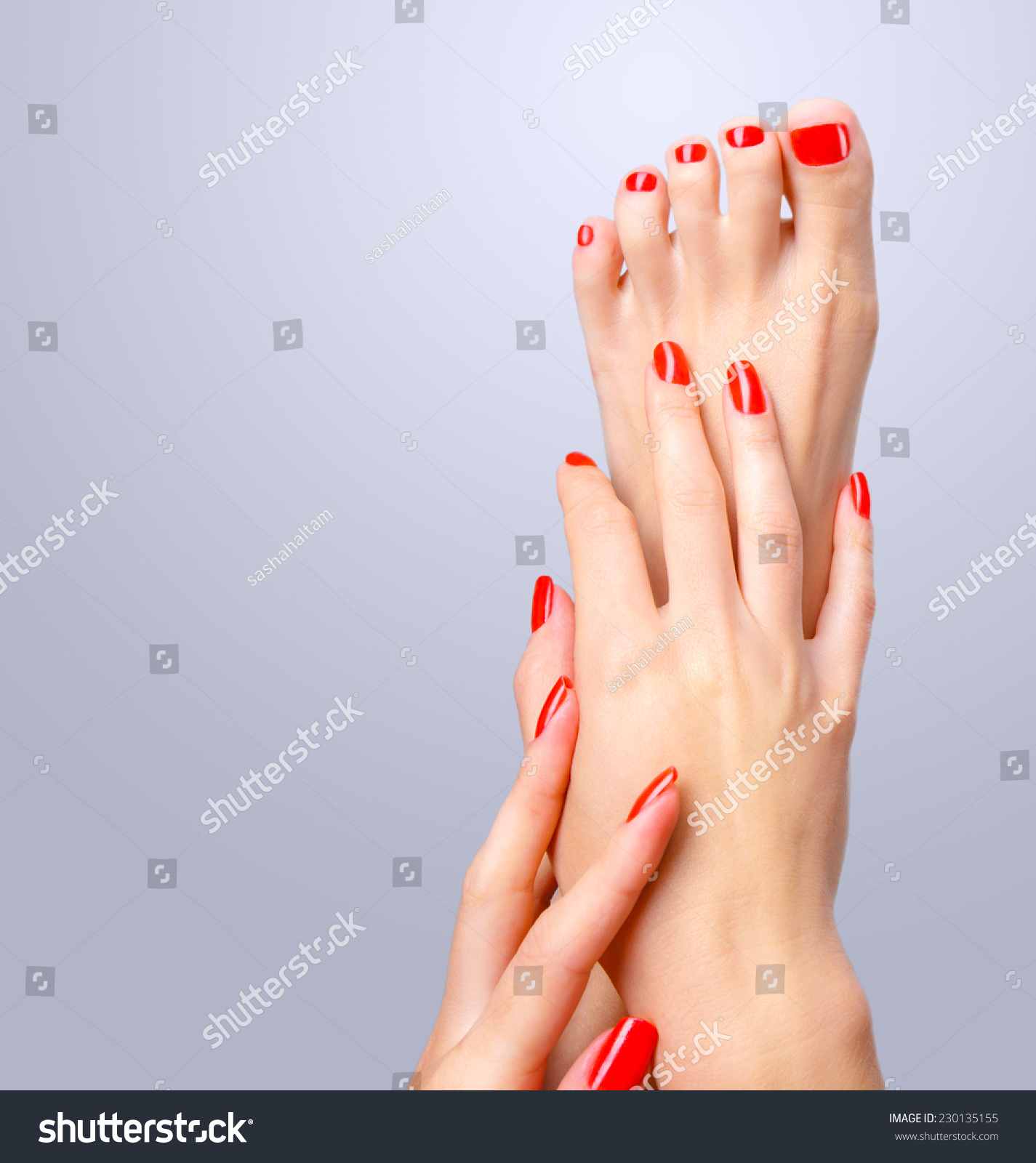 Beautiful Hand Foot Red Shiny Manicure Stock Photo (Download Now ...