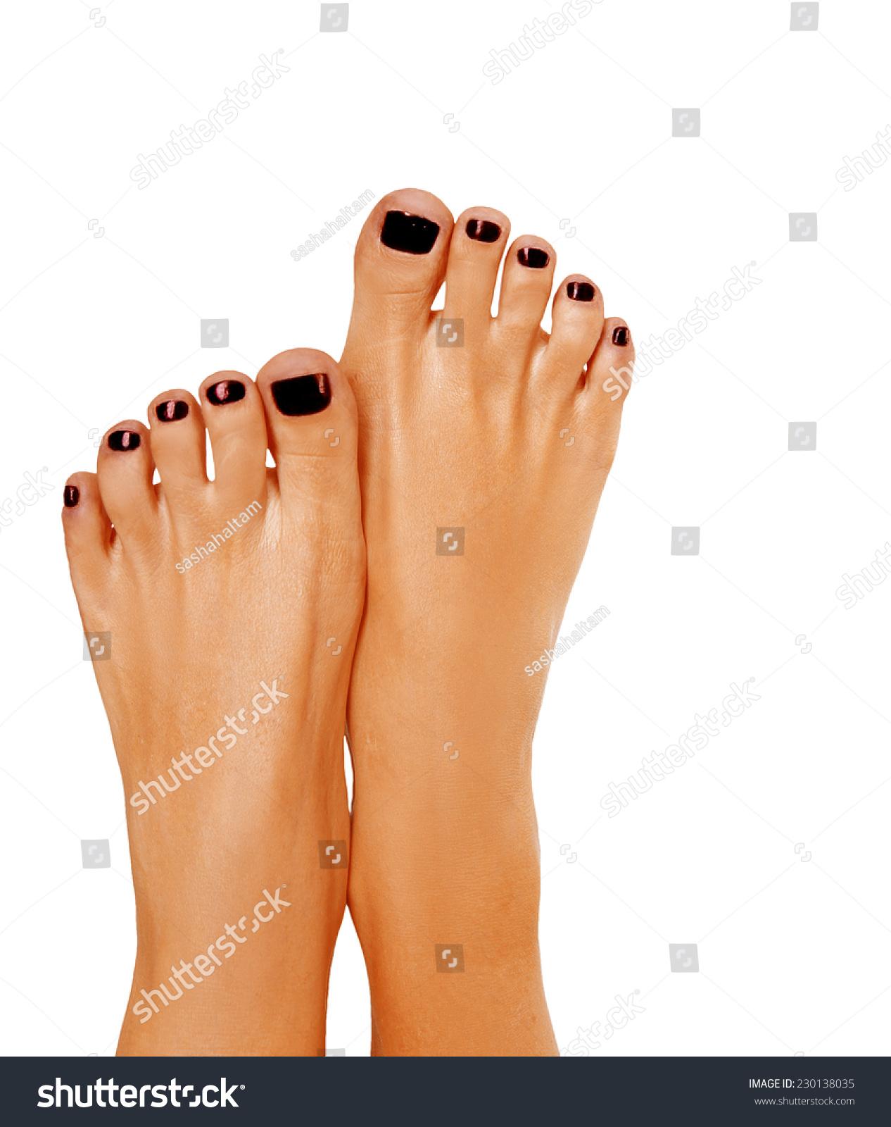 Closeup Photo Beautiful Female Feet Black Stock Photo (Download Now ...
