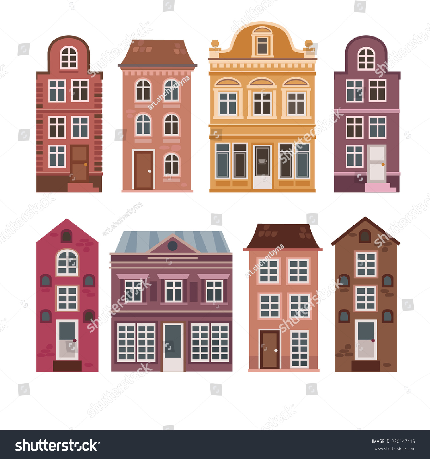 Vector set houses dutch style different stock vector for Classic dutch house of 60m2